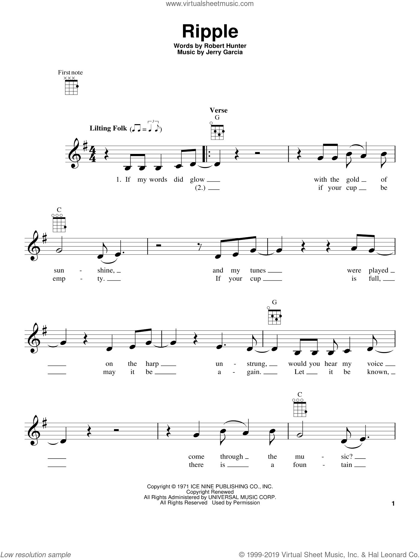 Ripple sheet music for ukulele by Robert Hunter and Grateful Dead. Score Image Preview.