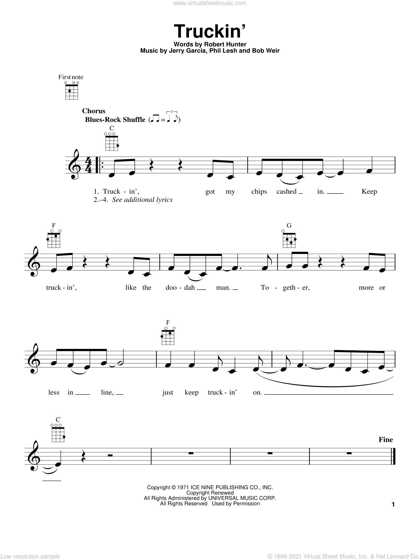 Truckin' sheet music for ukulele by Robert Hunter, Grateful Dead and Bob Weir. Score Image Preview.