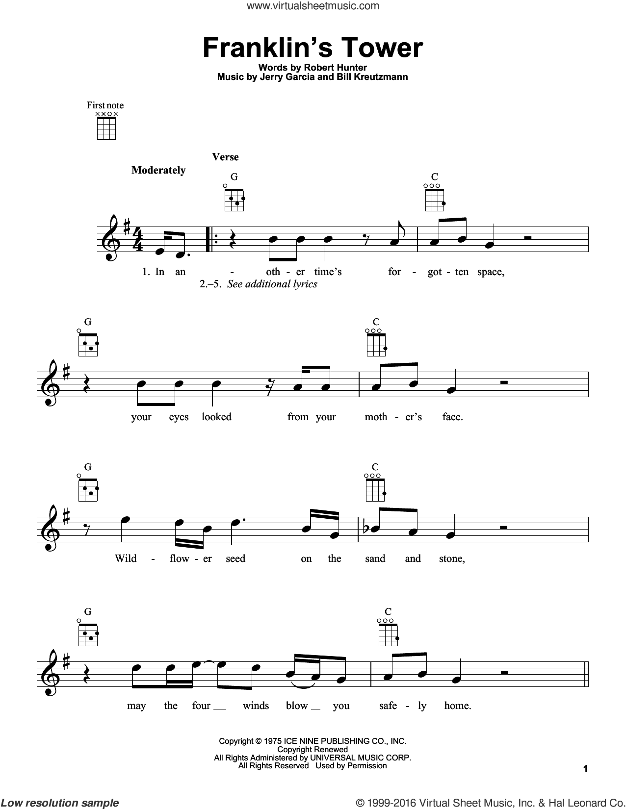 Franklin's Tower sheet music for ukulele by Robert Hunter and Grateful Dead. Score Image Preview.