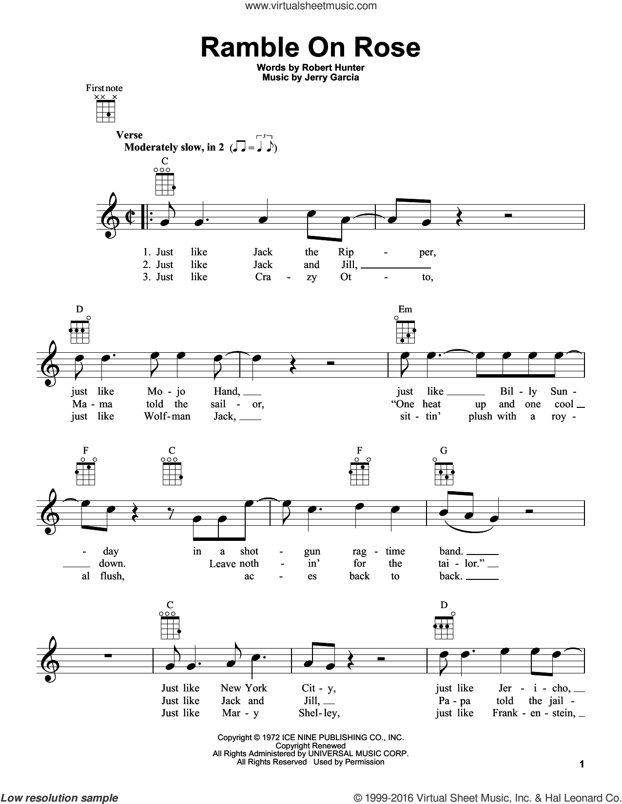 Ramble On Rose sheet music for ukulele by Grateful Dead, intermediate ukulele. Score Image Preview.