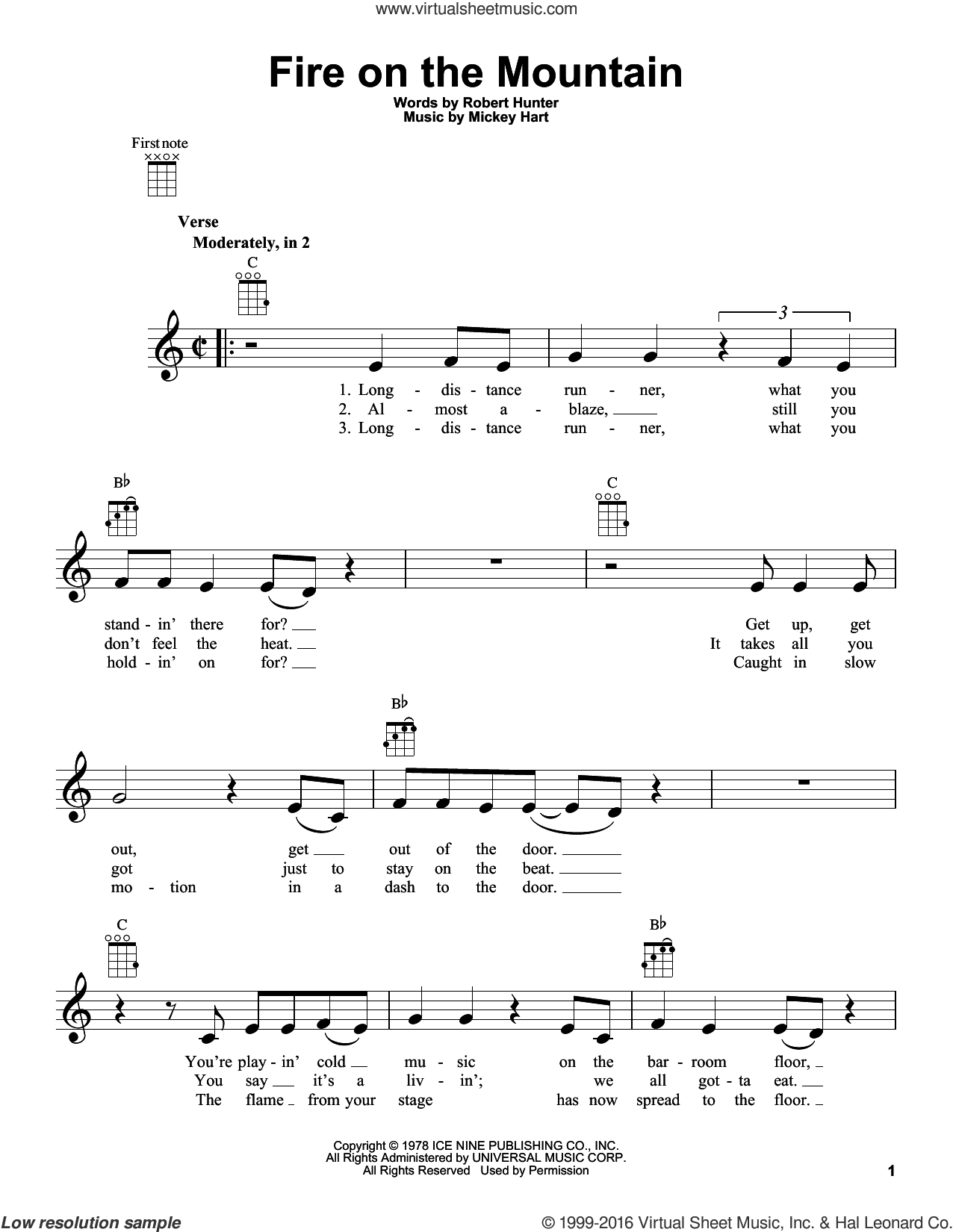 Fire On The Mountain sheet music for ukulele by Grateful Dead and Mickey Hart, intermediate ukulele. Score Image Preview.