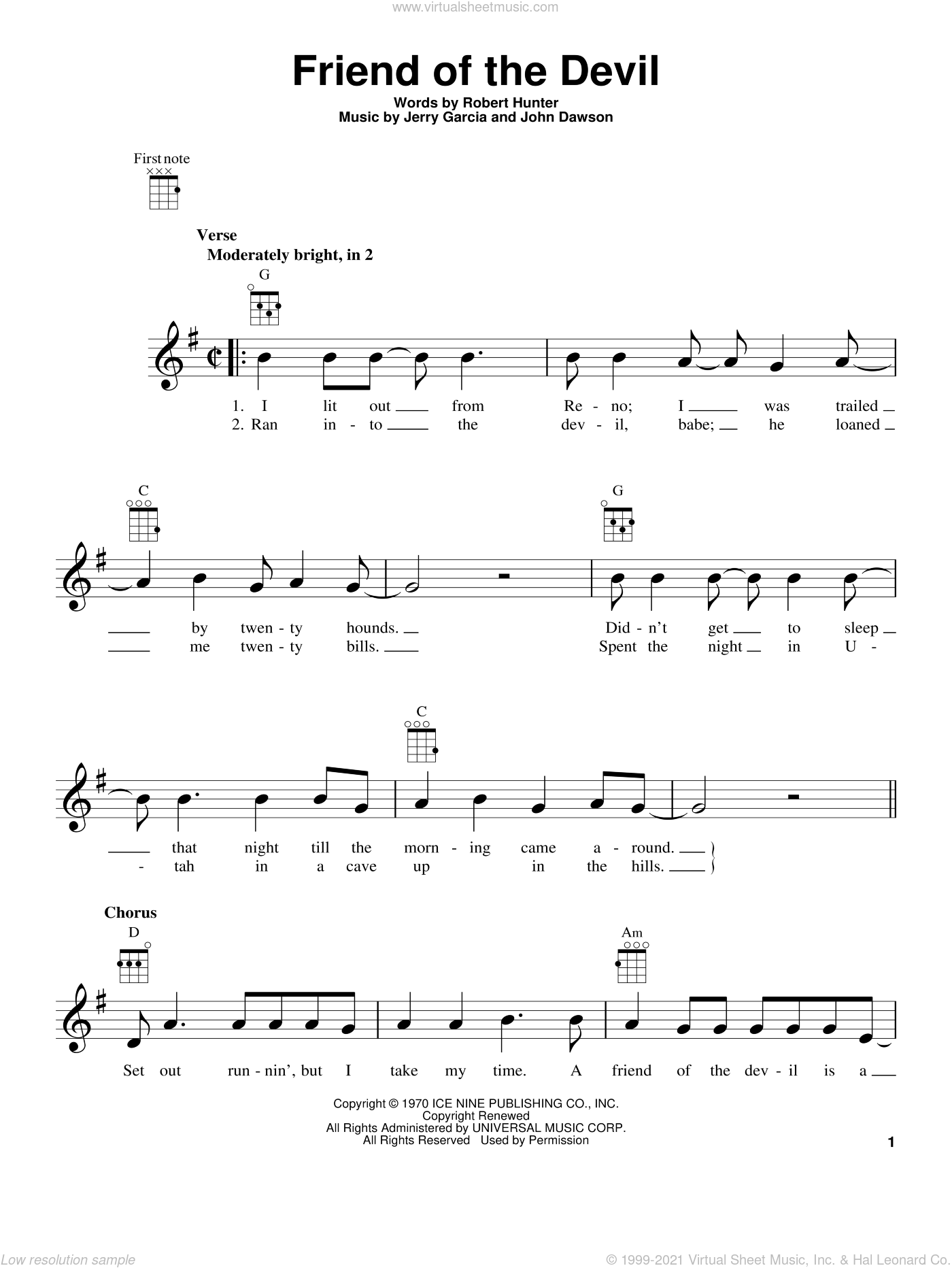 Friend Of The Devil sheet music for ukulele by Robert Hunter and Grateful Dead. Score Image Preview.