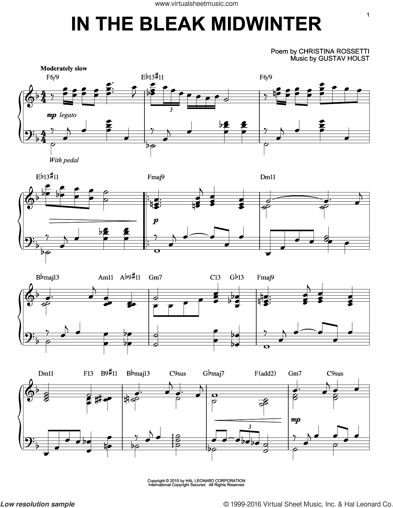 In The Bleak Midwinter [Jazz version] (arr. Brent Edstrom) sheet music for piano solo by Gustav Holst and Christina Rossetti, intermediate skill level