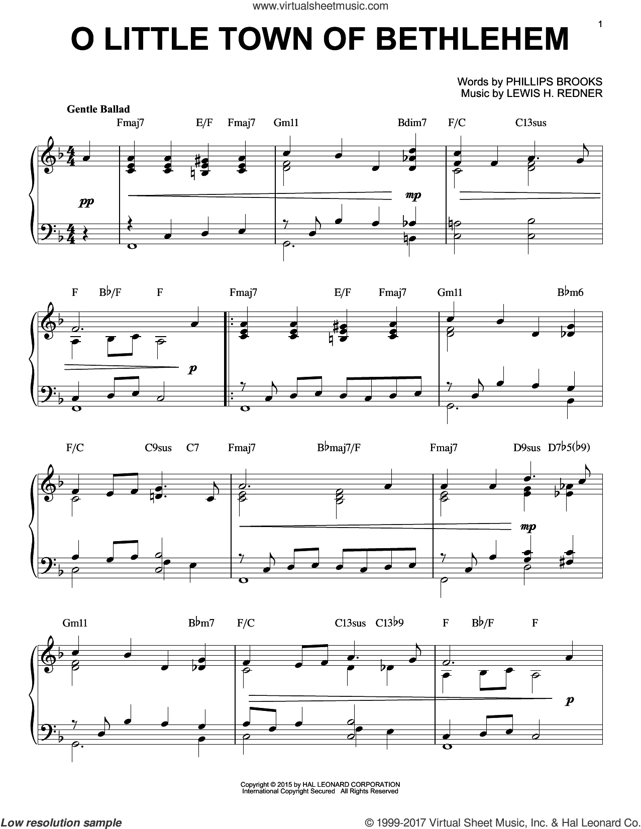 O Little Town Of Bethlehem [Jazz version] (arr. Brent Edstrom) sheet music for piano solo by Phillips Brooks and Lewis Redner, intermediate skill level