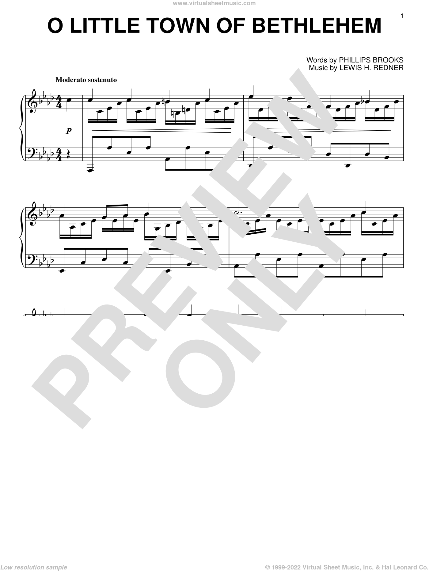O Little Town Of Bethlehem sheet music for piano solo by Phillips Brooks and Lewis Redner, intermediate skill level