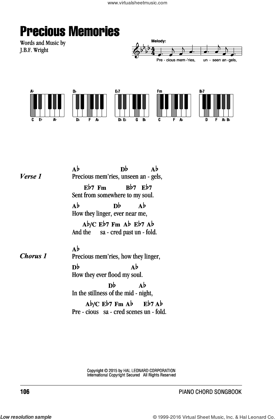 Precious Memories sheet music for piano solo (chords, lyrics, melody) by J.B.F. Wright, intermediate piano (chords, lyrics, melody)