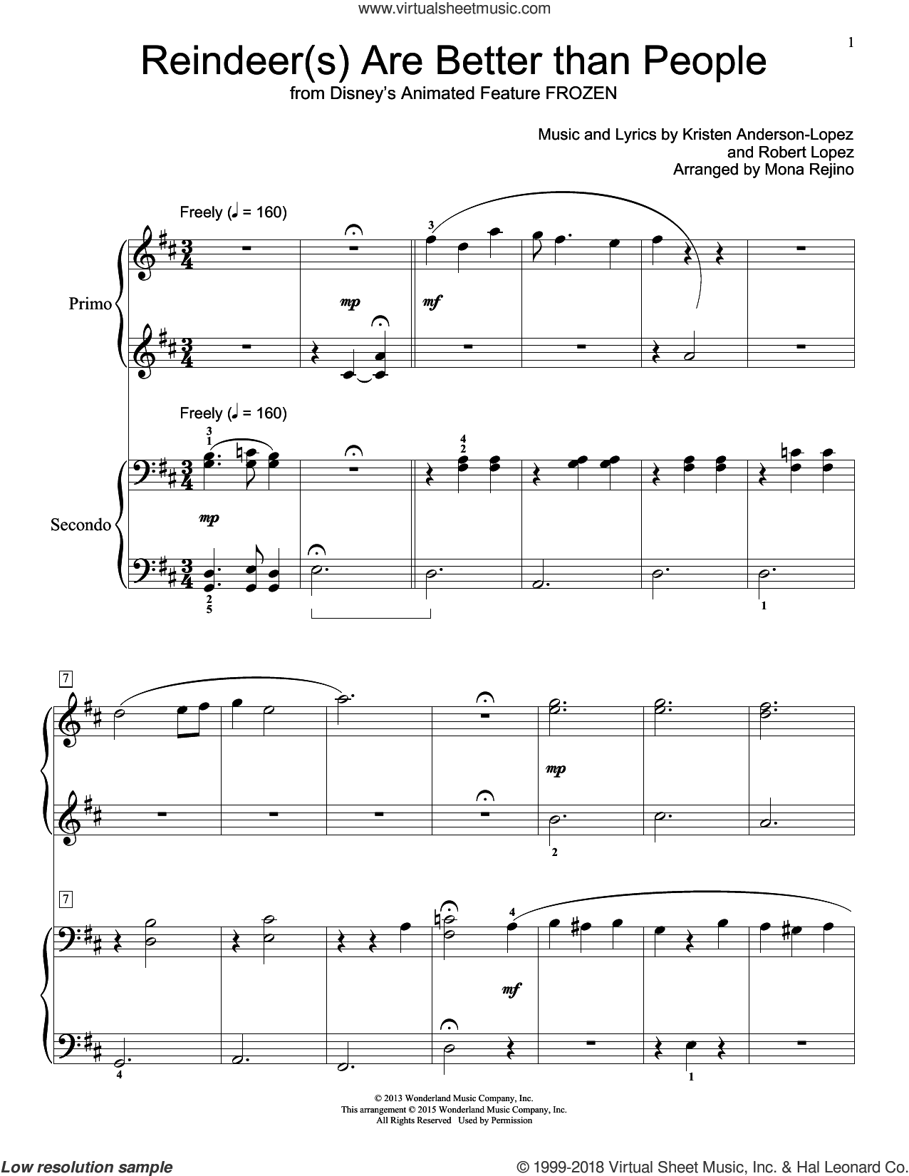 Reindeer(s) Are Better Than People (from Frozen) sheet music for piano four hands by Mona Rejino, Kristen Anderson-Lopez and Robert Lopez, intermediate skill level