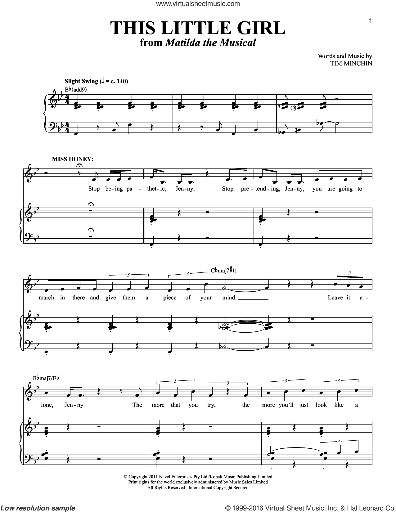This Little Girl sheet music for voice and piano by Tim Minchin
