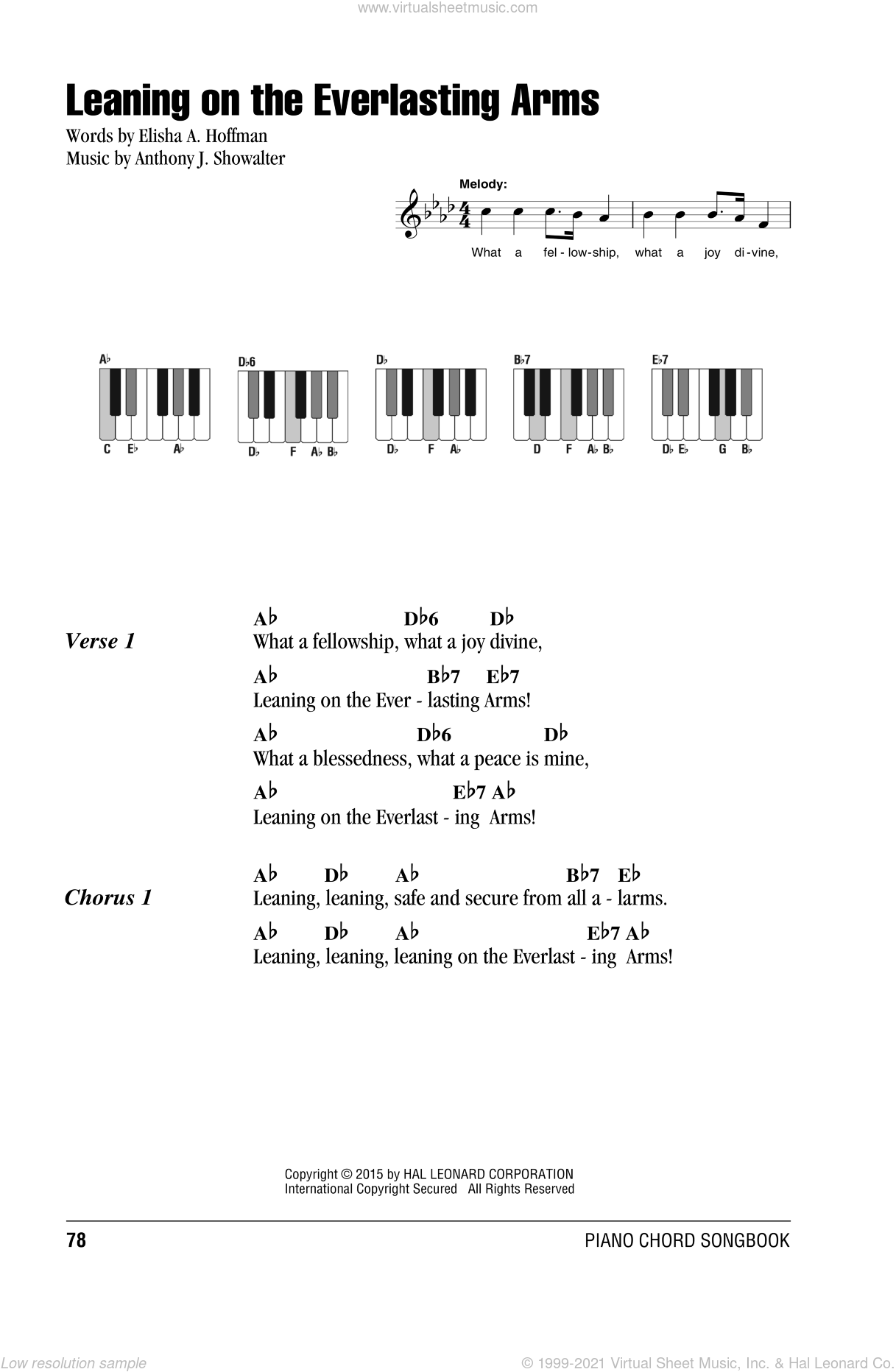 Leaning On The Everlasting Arms sheet music for piano solo (chords, lyrics, melody) by Anthony J. Showalter and Elisha A. Hoffman, intermediate piano (chords, lyrics, melody). Score Image Preview.
