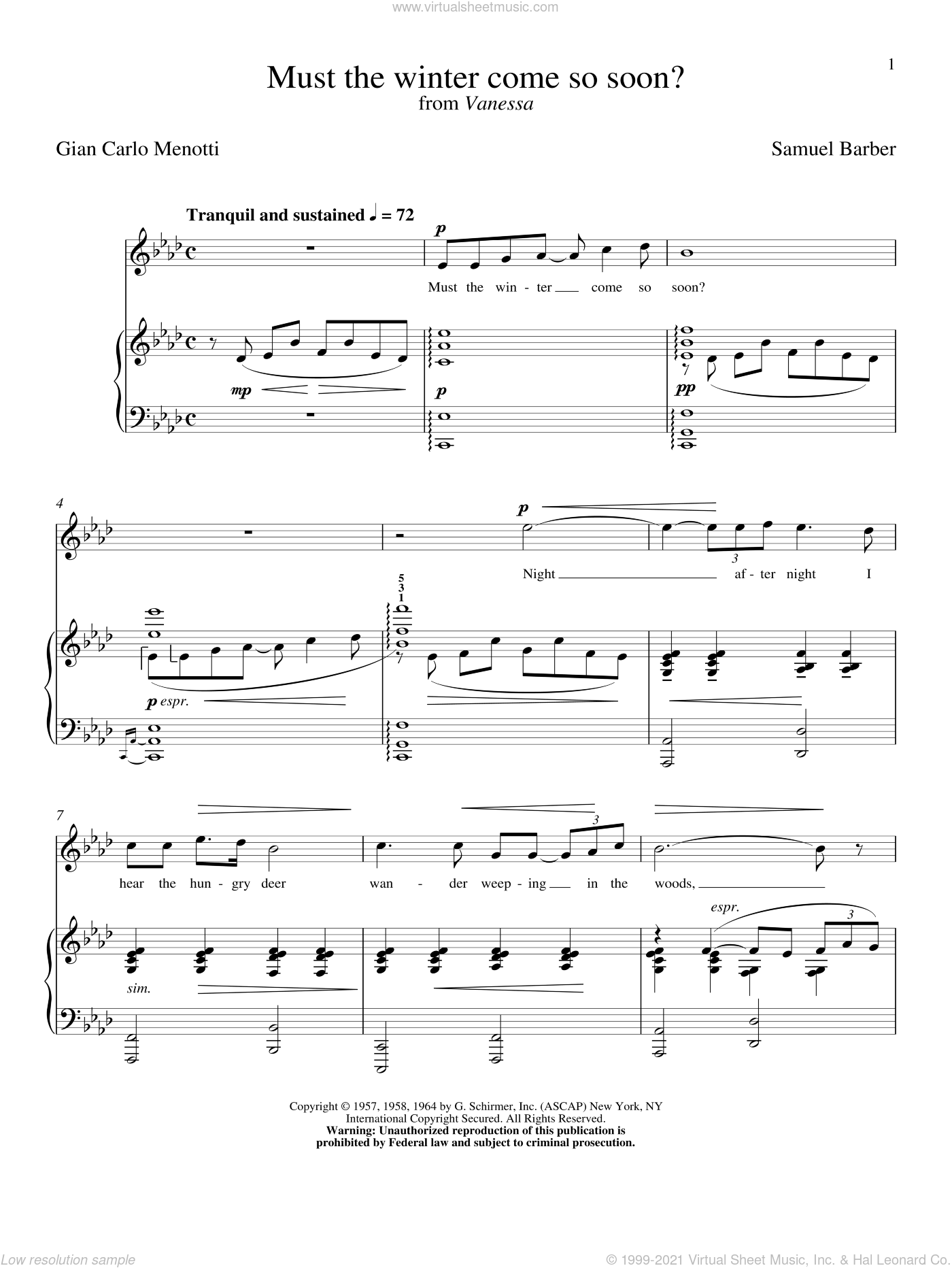 Must The Winter Come So Soon? sheet music for voice and piano by Samuel Barber and Robert L. Larsen, classical score, intermediate skill level