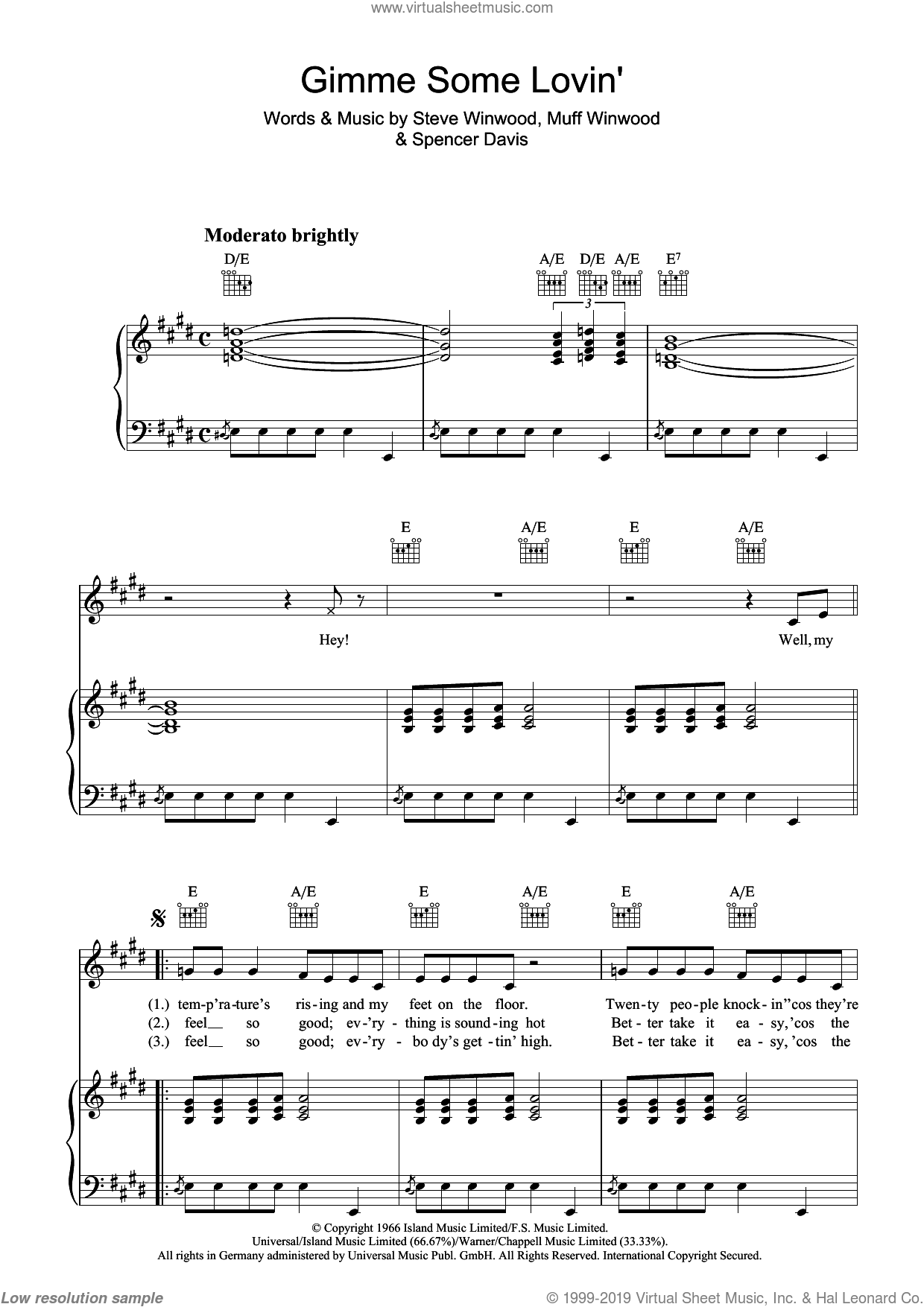 Gimme Some Lovin' sheet music for voice, piano or guitar by Spencer Davis, Muff Winwood and Steve Winwood. Score Image Preview.