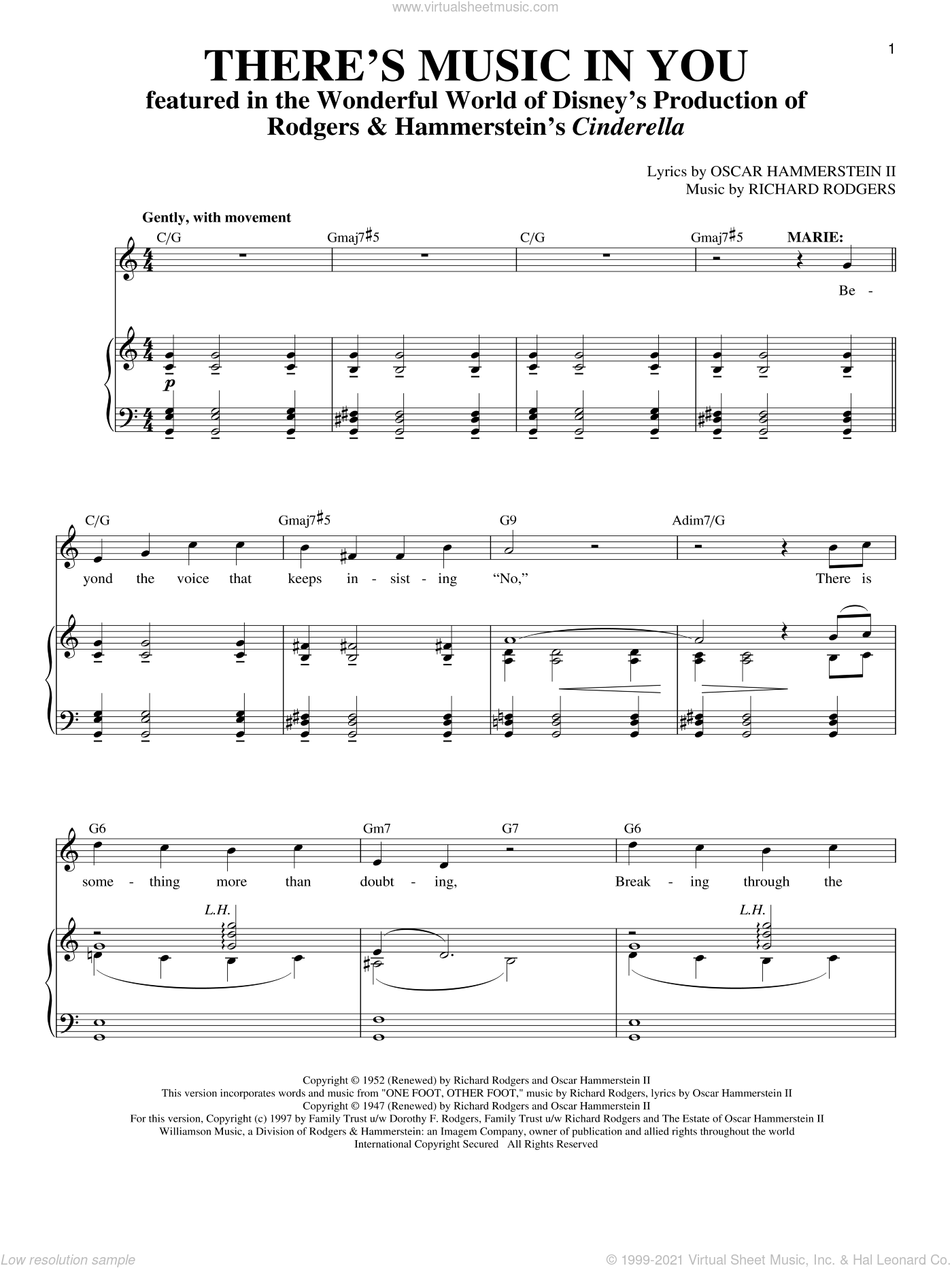 There's Music In You sheet music for voice and piano by Rodgers & Hammerstein, Richard Walters, Oscar II Hammerstein and Richard Rodgers. Score Image Preview.