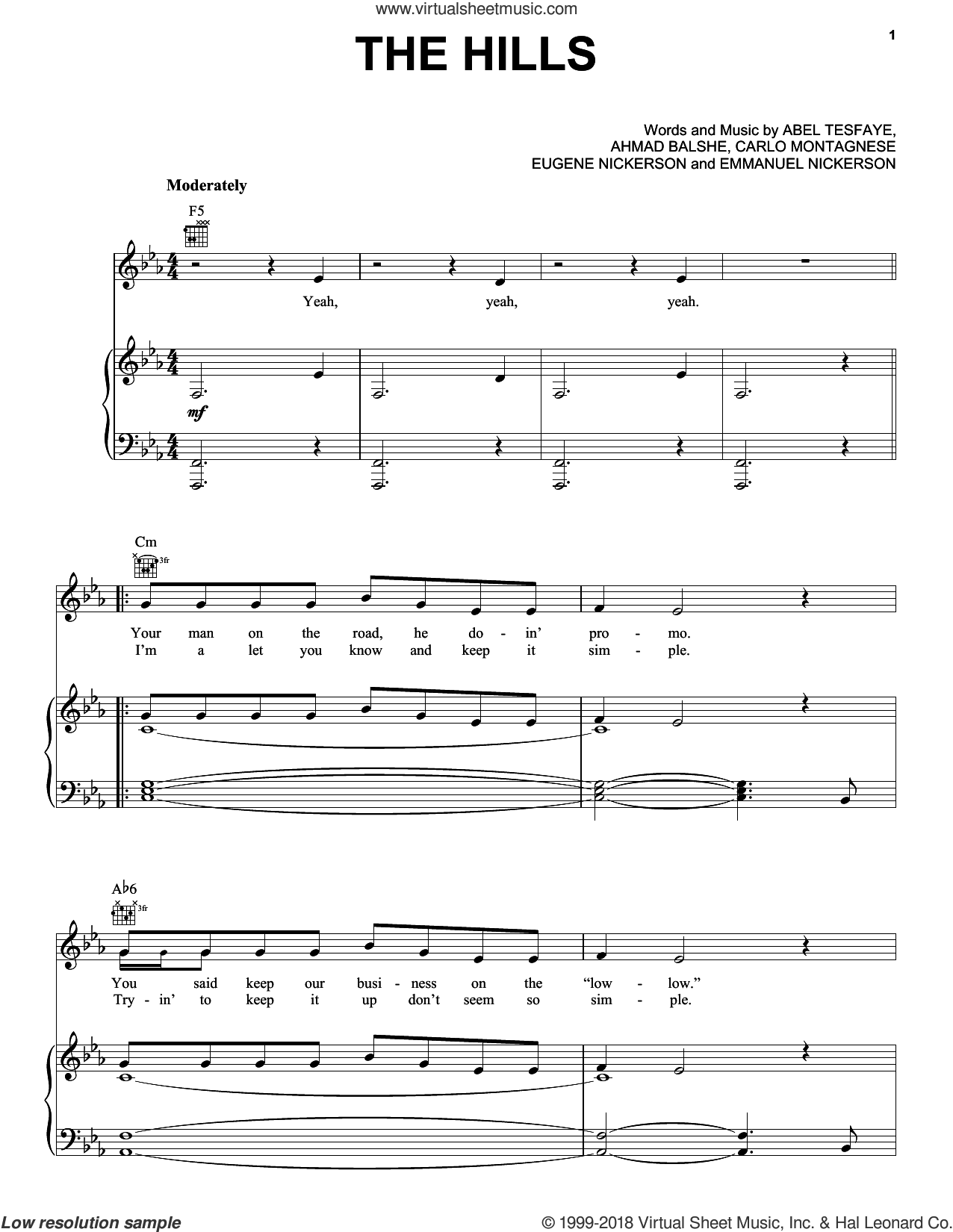 The Hills sheet music for voice, piano or guitar by The Weeknd, Abel Tesfaye, Ahmad Balshe, Carlo Montagnese, Emmanuel Nickerson and Eugene Nickerson, intermediate skill level