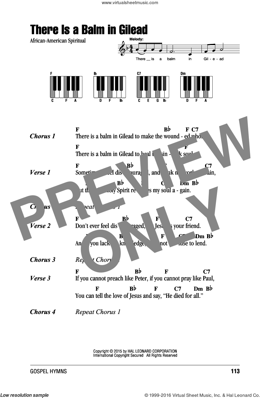 There Is A Balm In Gilead sheet music for piano solo (chords, lyrics, melody). Score Image Preview.