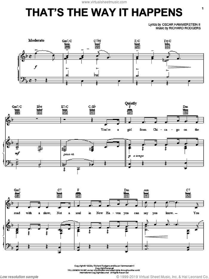 That's The Way It Happens sheet music for voice, piano or guitar by Rodgers & Hammerstein, State Fair (Musical), Oscar II Hammerstein and Richard Rodgers, intermediate skill level