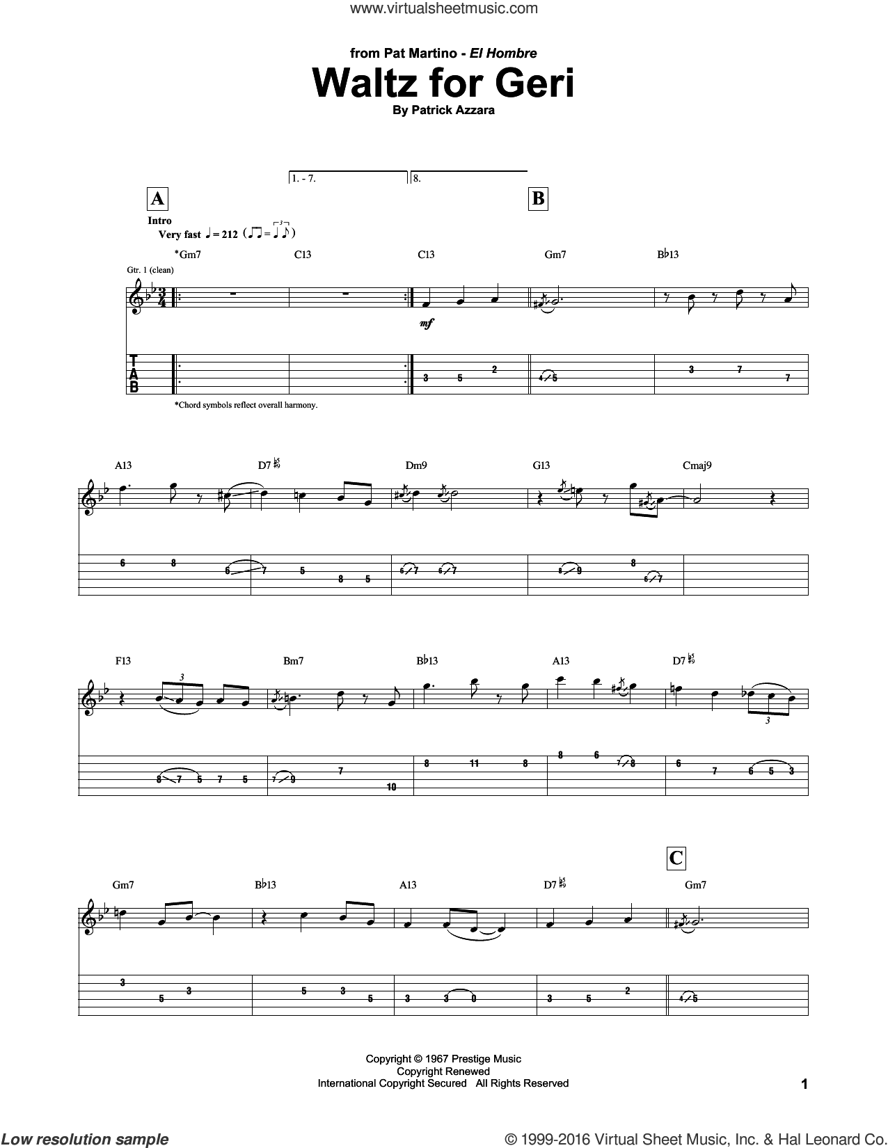 Waltz For Geri sheet music for guitar (tablature) by Pat Martino and Patrick Azzara. Score Image Preview.