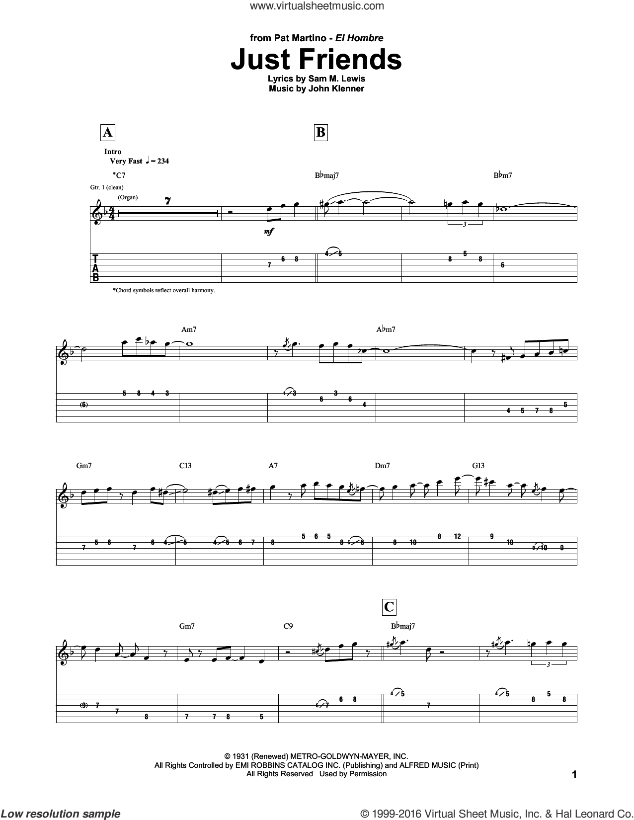 Just Friends sheet music for guitar (tablature) by Pat Martino, John Klenner and Sam Lewis, intermediate skill level