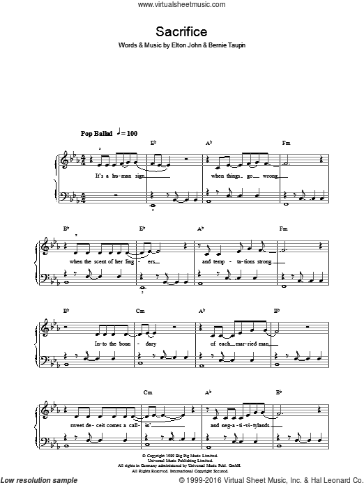 Sacrifice sheet music for voice, piano or guitar by Bernie Taupin and Elton John. Score Image Preview.