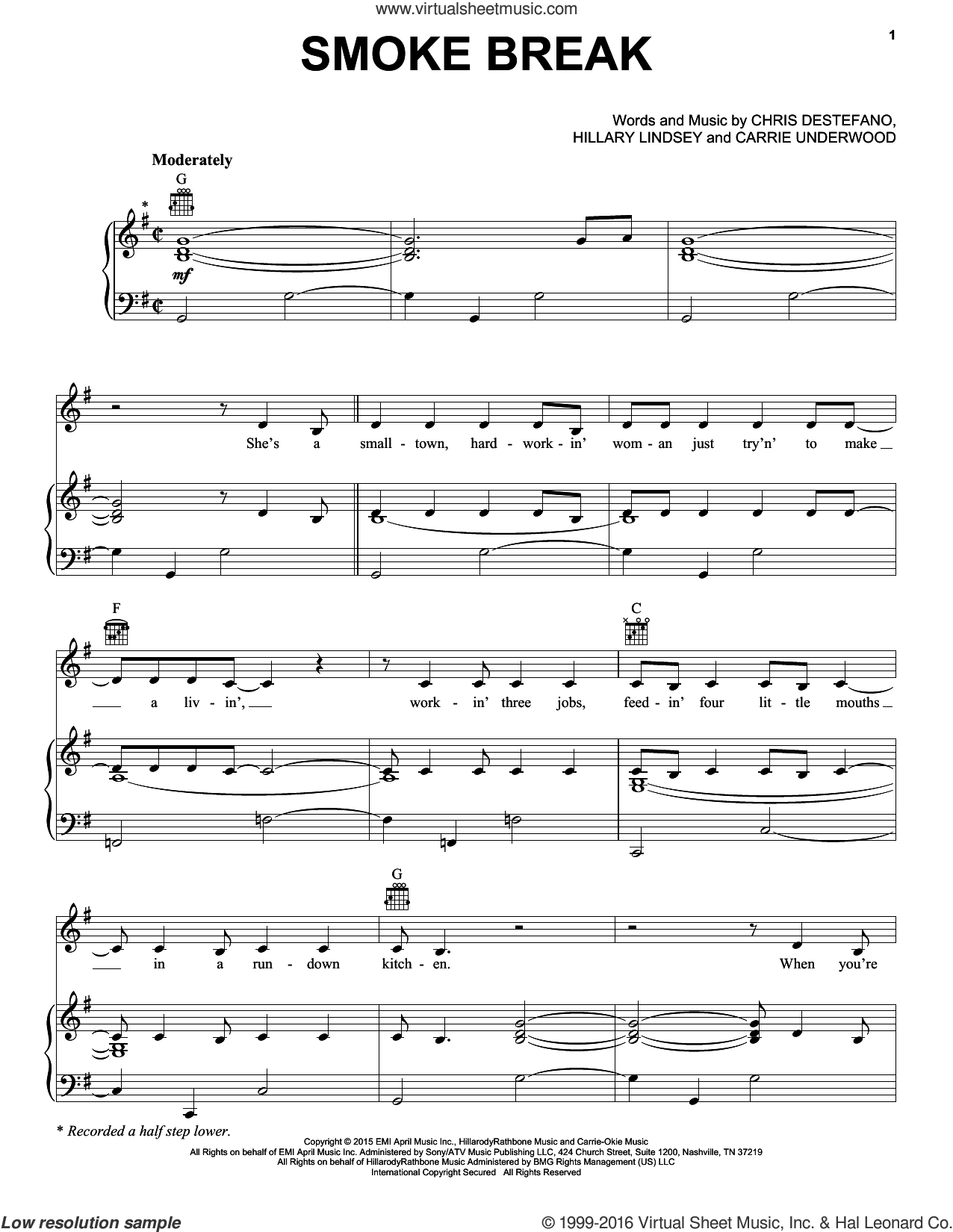 Smoke Break sheet music for voice, piano or guitar by Carrie Underwood, Chris Destefano and Hillary Lindsey, intermediate skill level