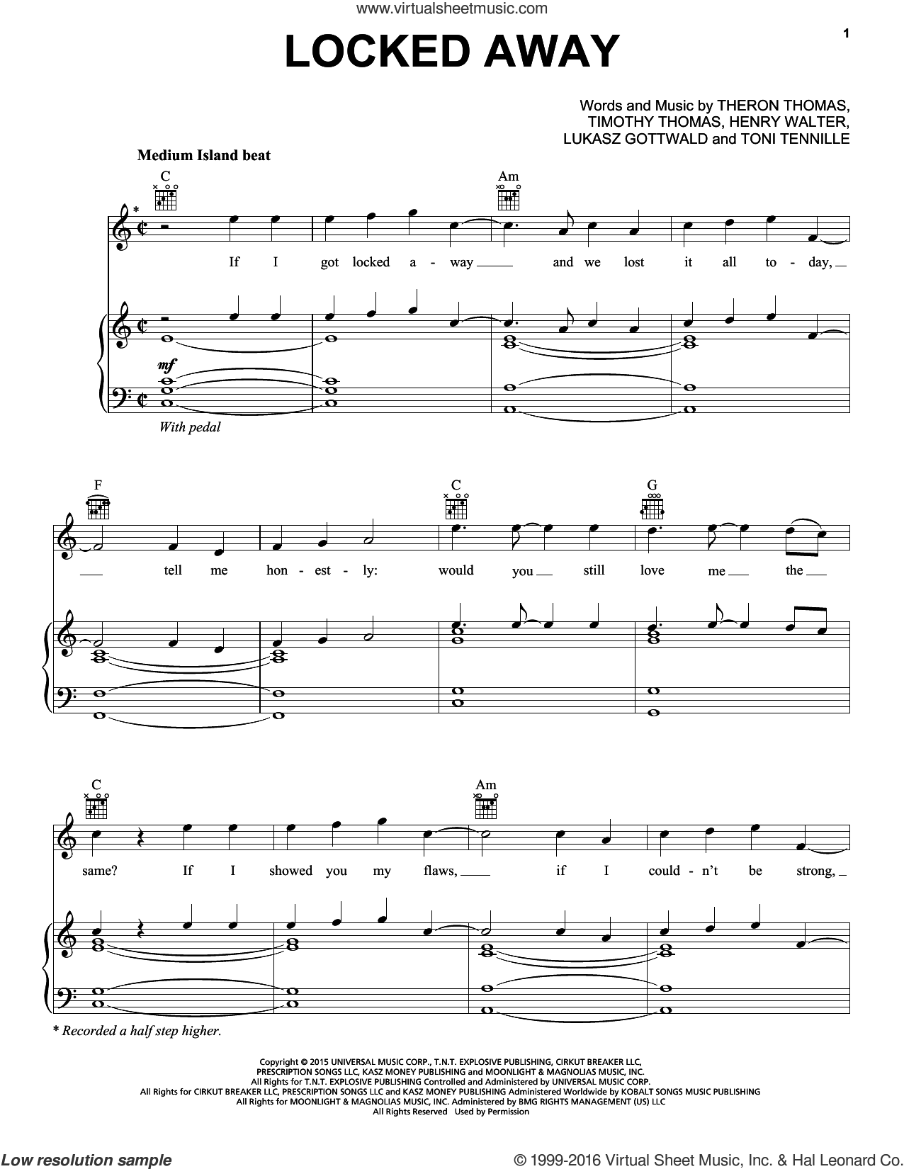 Levine - Locked Away sheet music for voice, piano or guitar