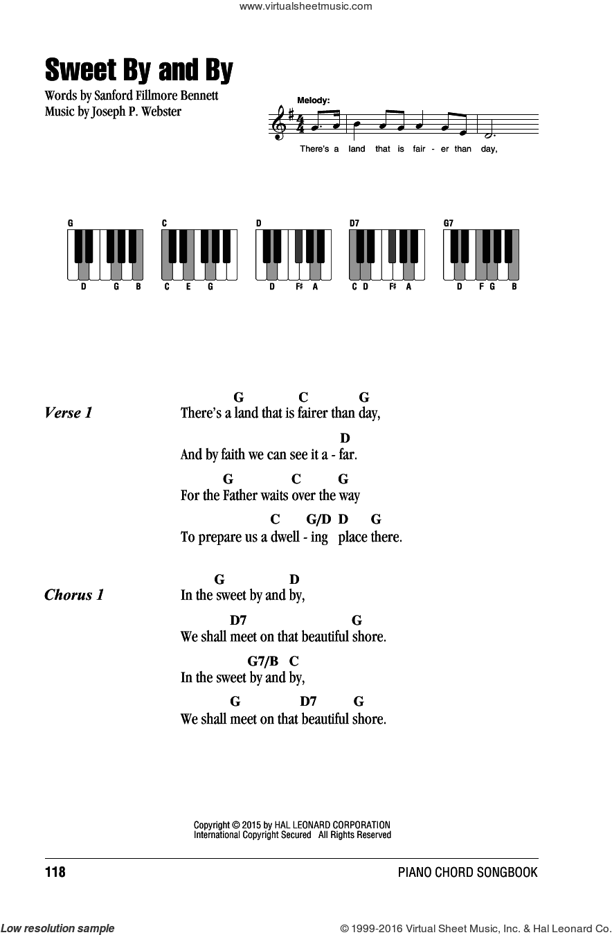 Sweet By And By sheet music for piano solo (chords, lyrics, melody) by Joseph P. Webster and Sanford Fillmore Bennett. Score Image Preview.