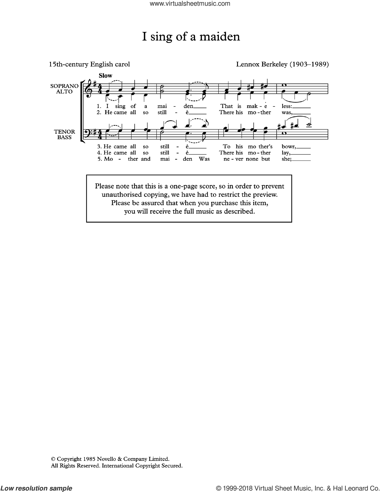 I Sing Of A Maiden (Arr. Lennox Berkeley) sheet music for choir  and Lennox Berkeley, classical score, intermediate. Score Image Preview.