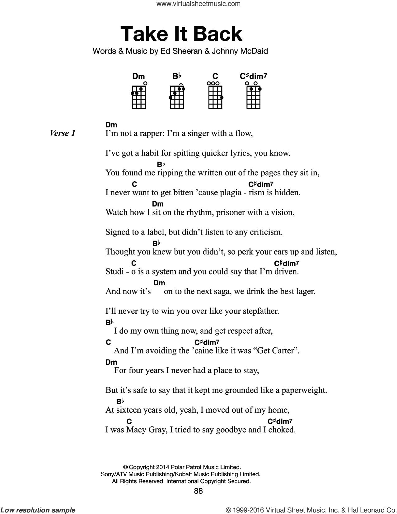 Sheeran Take It Back Sheet Music For Voice Piano Or Guitar