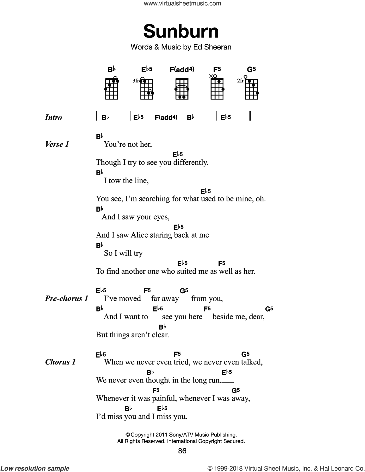 Sunburn sheet music for voice, piano or guitar by Ed Sheeran, intermediate skill level