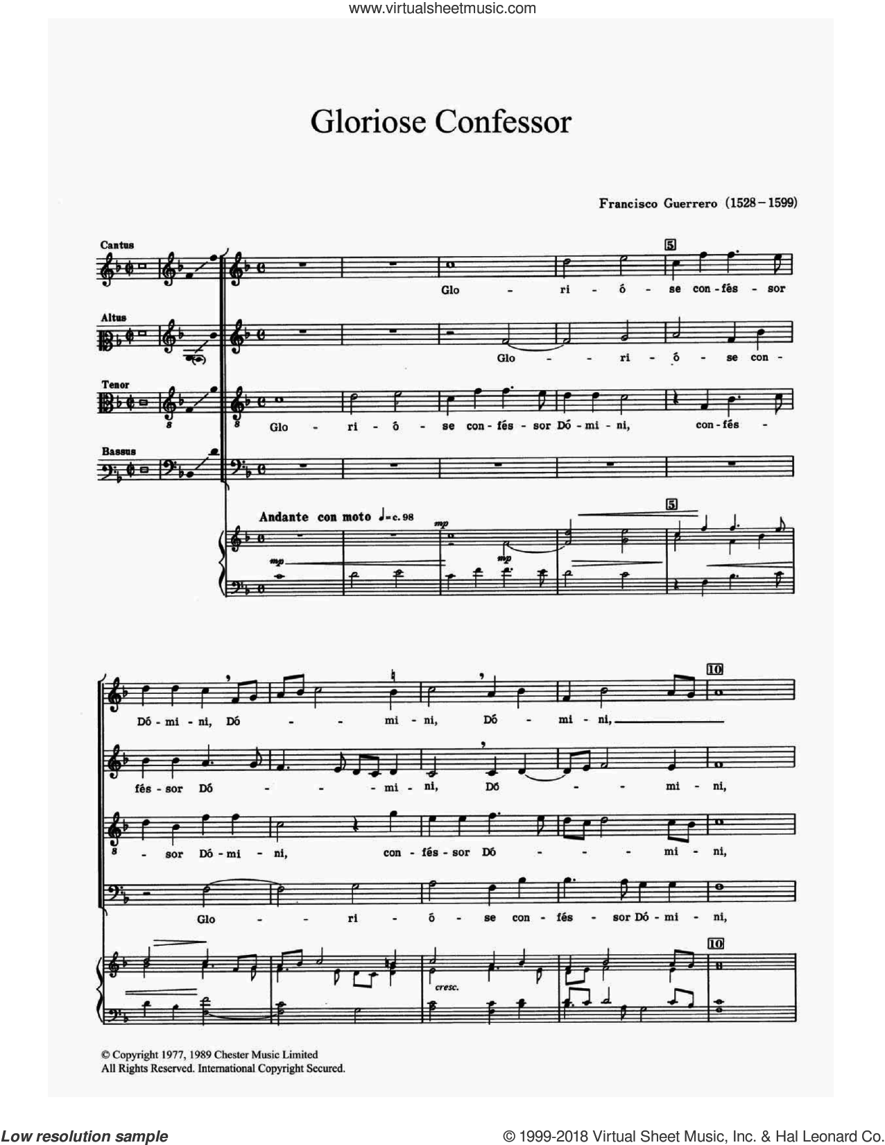 Gloriose Confessor sheet music for choir by Francisco Guerrero, classical score, intermediate skill level