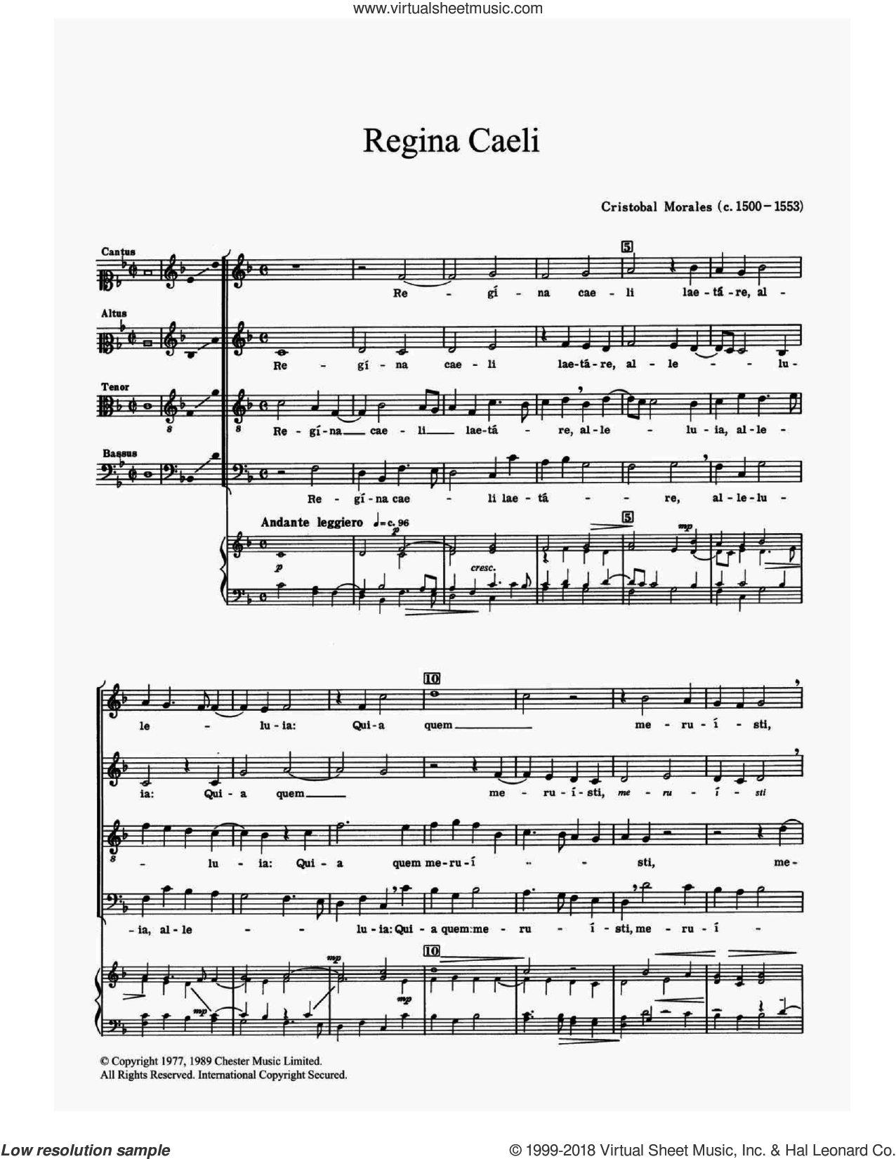 Regina Caeli sheet music for choir and piano by Cristobal de Morales. Score Image Preview.