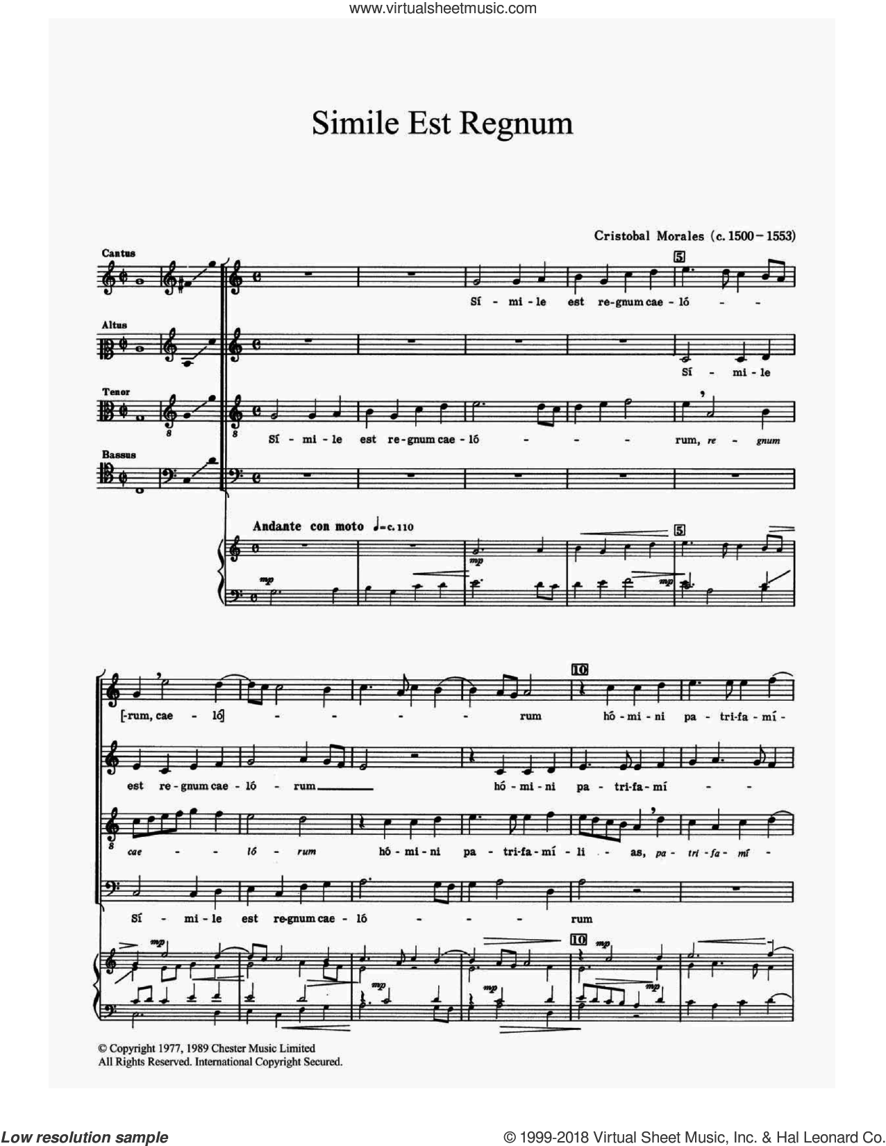 Simile Est Regnum sheet music for choir by Cristobal de Morales, classical score, intermediate skill level