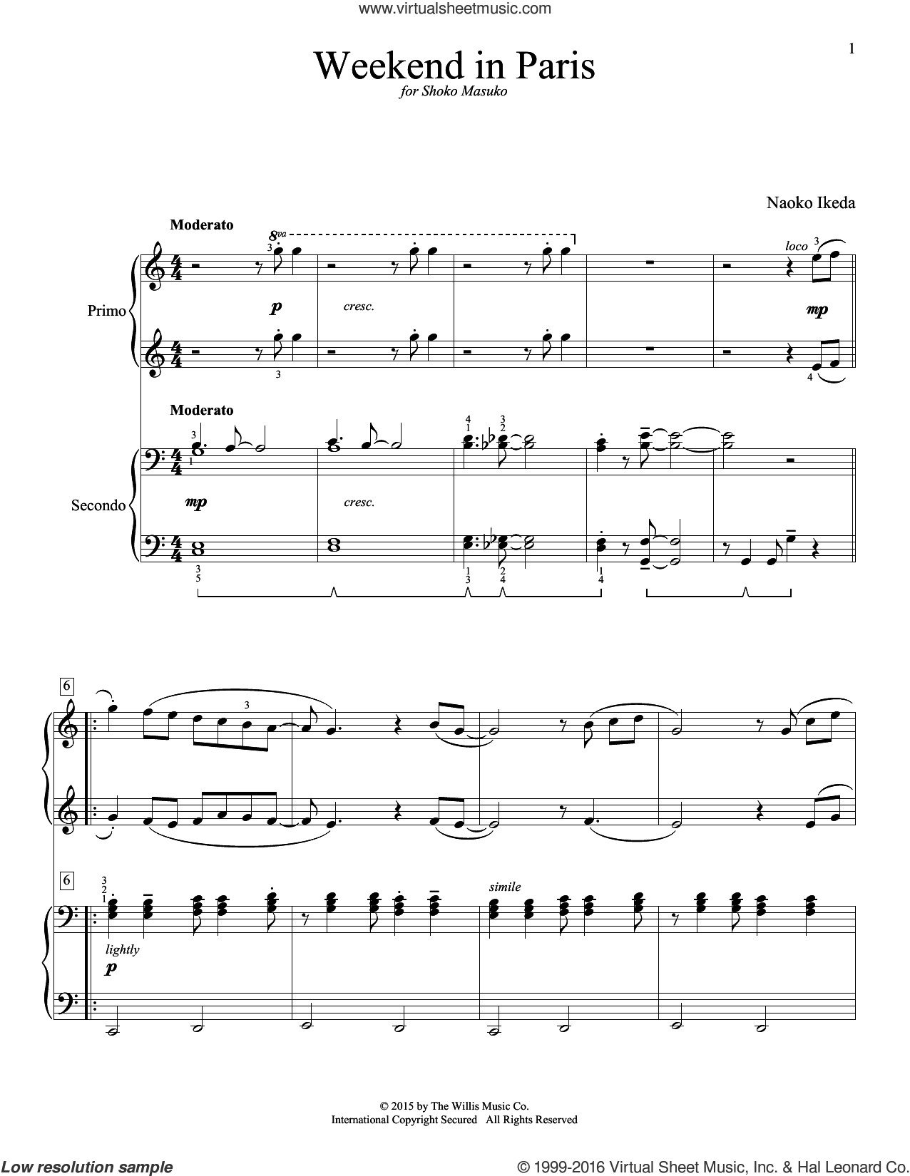 Weekend In Paris sheet music for piano four hands (duets) by Naoko Ikeda, intermediate piano four hands. Score Image Preview.
