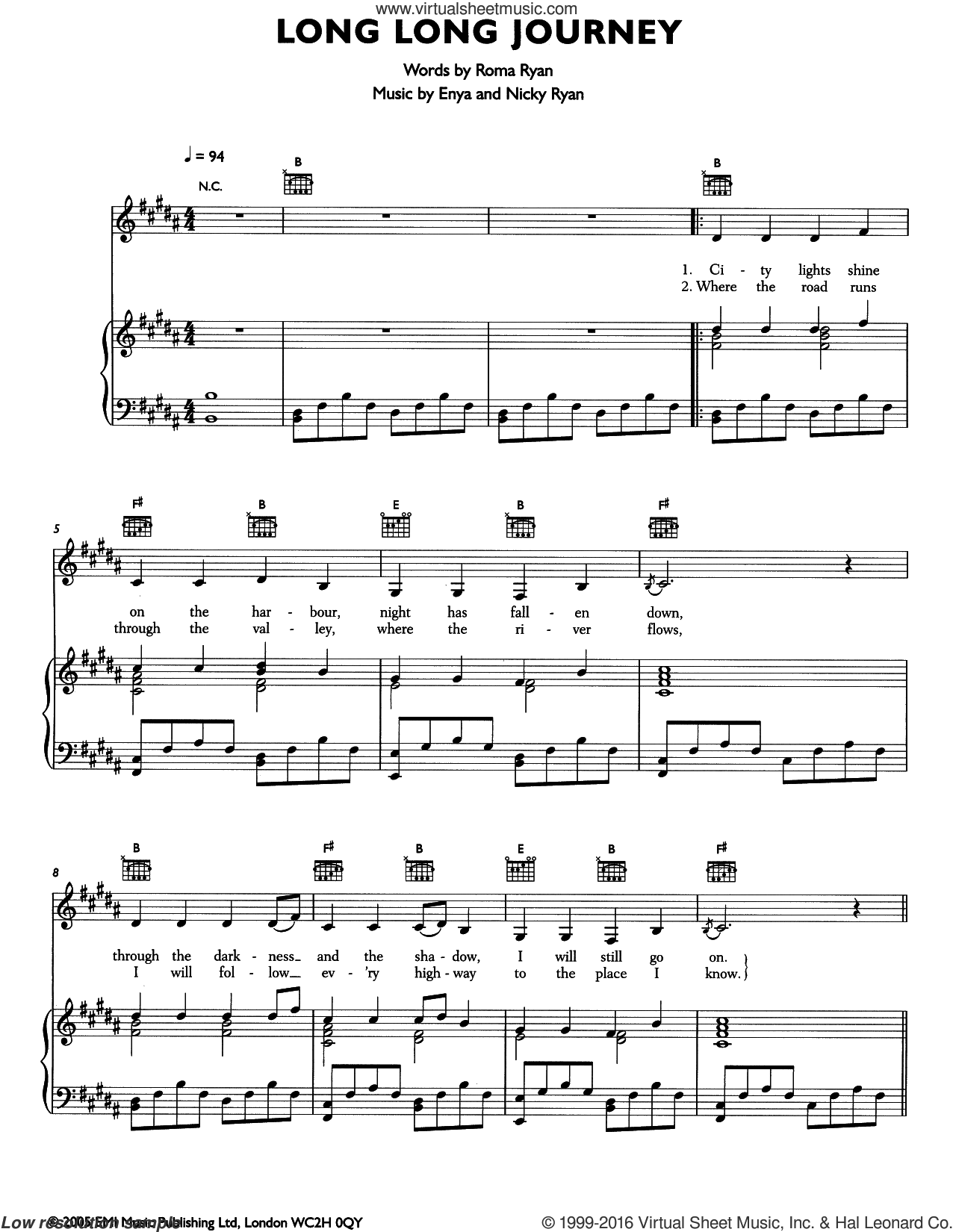 Long Long Journey sheet music for voice, piano or guitar by Roma Ryan, Enya and Nicky Ryan. Score Image Preview.