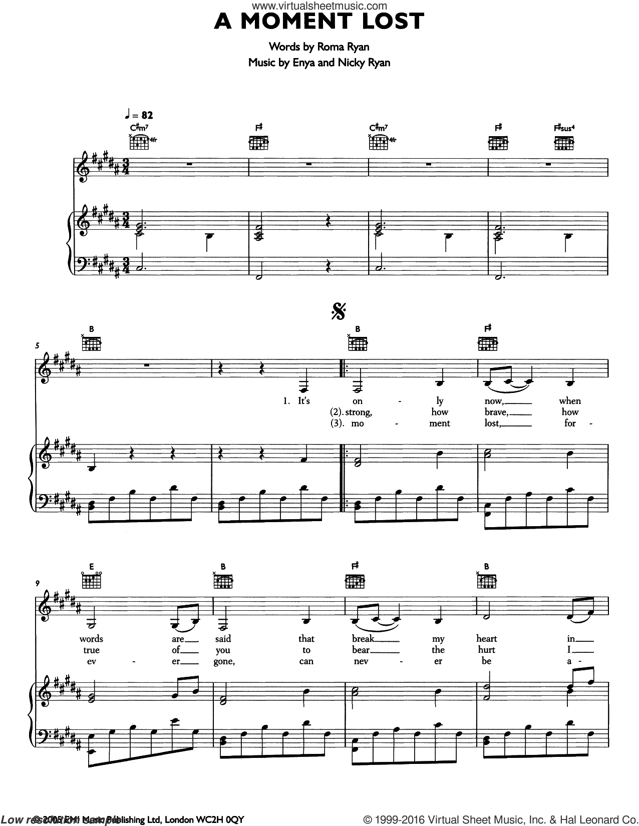 A Moment Lost sheet music for voice, piano or guitar by Roma Ryan, Enya and Nicky Ryan. Score Image Preview.