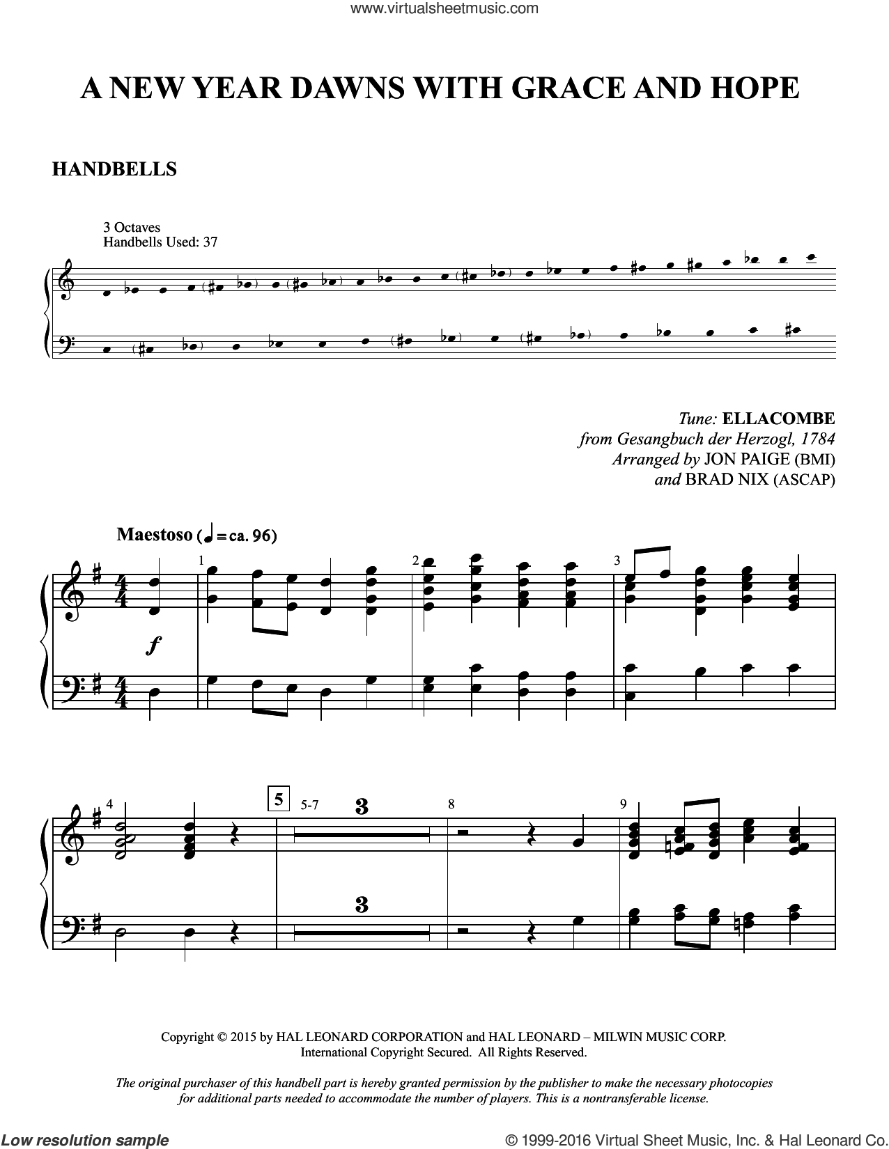 A New Year Dawns with Grace and Hope sheet music for orchestra/band (handbells) by Gesangbuch der Herzogl, Brad Nix, Jon Paige and Jonathan Martin. Score Image Preview.