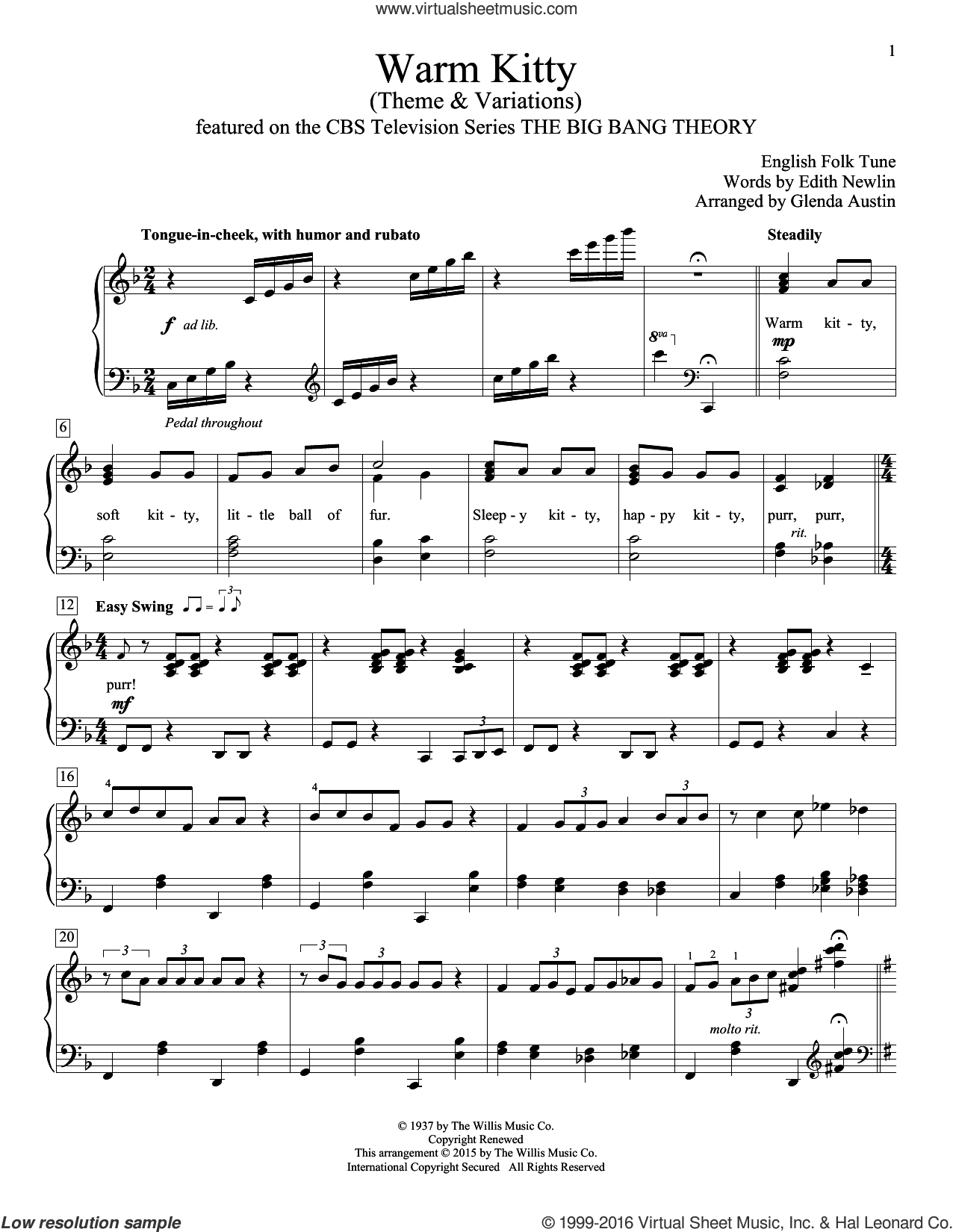 Warm Kitty sheet music for piano solo (elementary) by Glenda Austin