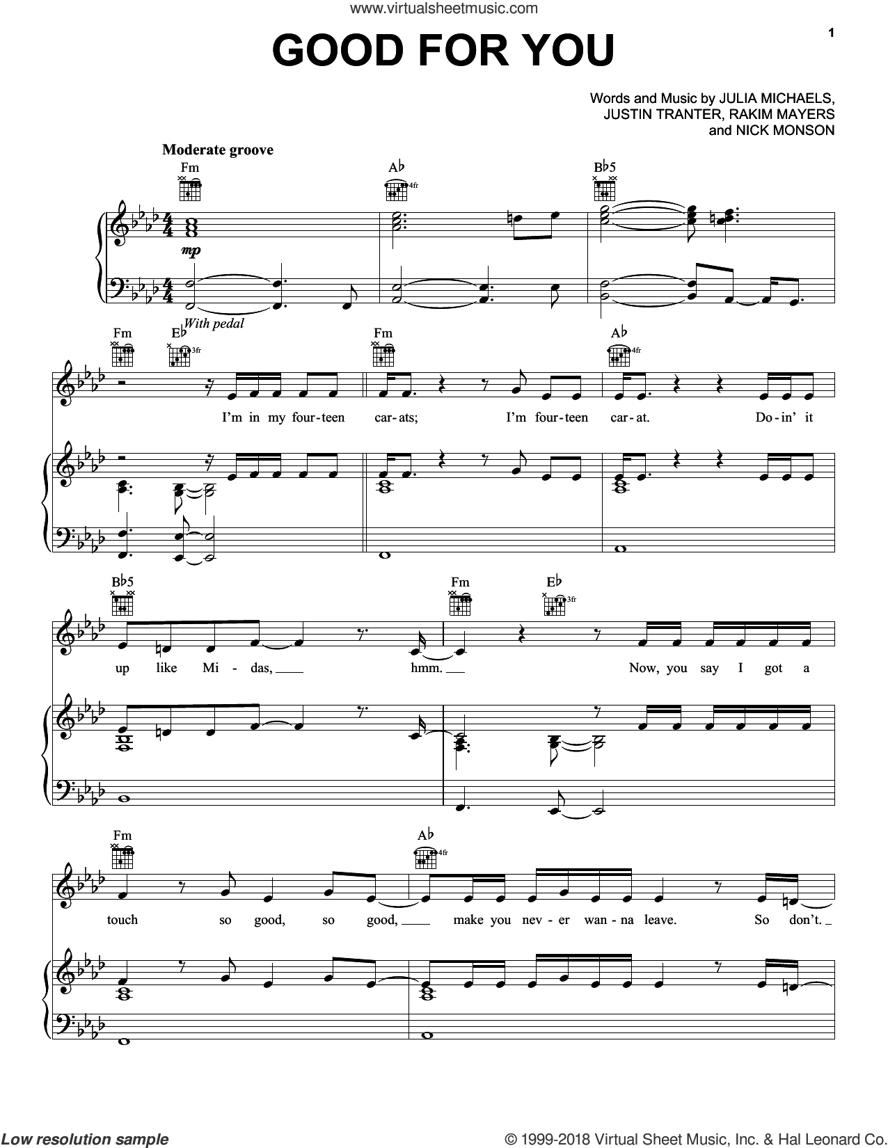 Good For You sheet music for voice, piano or guitar by Selena Gomez, Selena Gomez feat. A$AP Rocky, Julia Michaels, Justin Tranter, Nick Monson and Rakim Mayers, intermediate