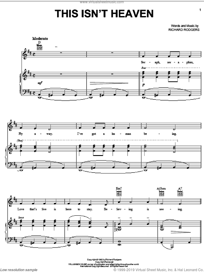 This Isn't Heaven sheet music for voice, piano or guitar by Rodgers & Hammerstein and Richard Rodgers, intermediate skill level