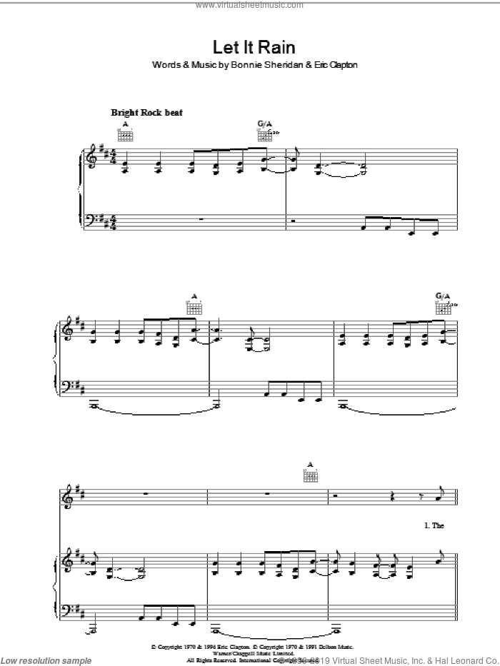 Let It Rain sheet music for voice, piano or guitar by Eric Clapton and Bonnie Bramlett, intermediate skill level
