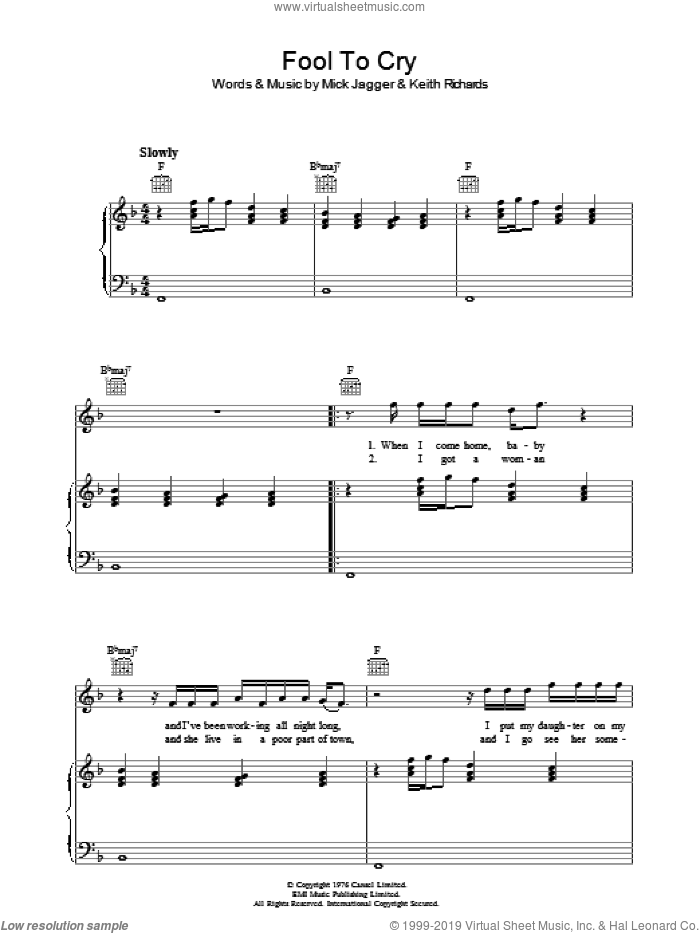 Fool To Cry sheet music for voice, piano or guitar by Mick Jagger, The Rolling Stones and Keith Richards. Score Image Preview.