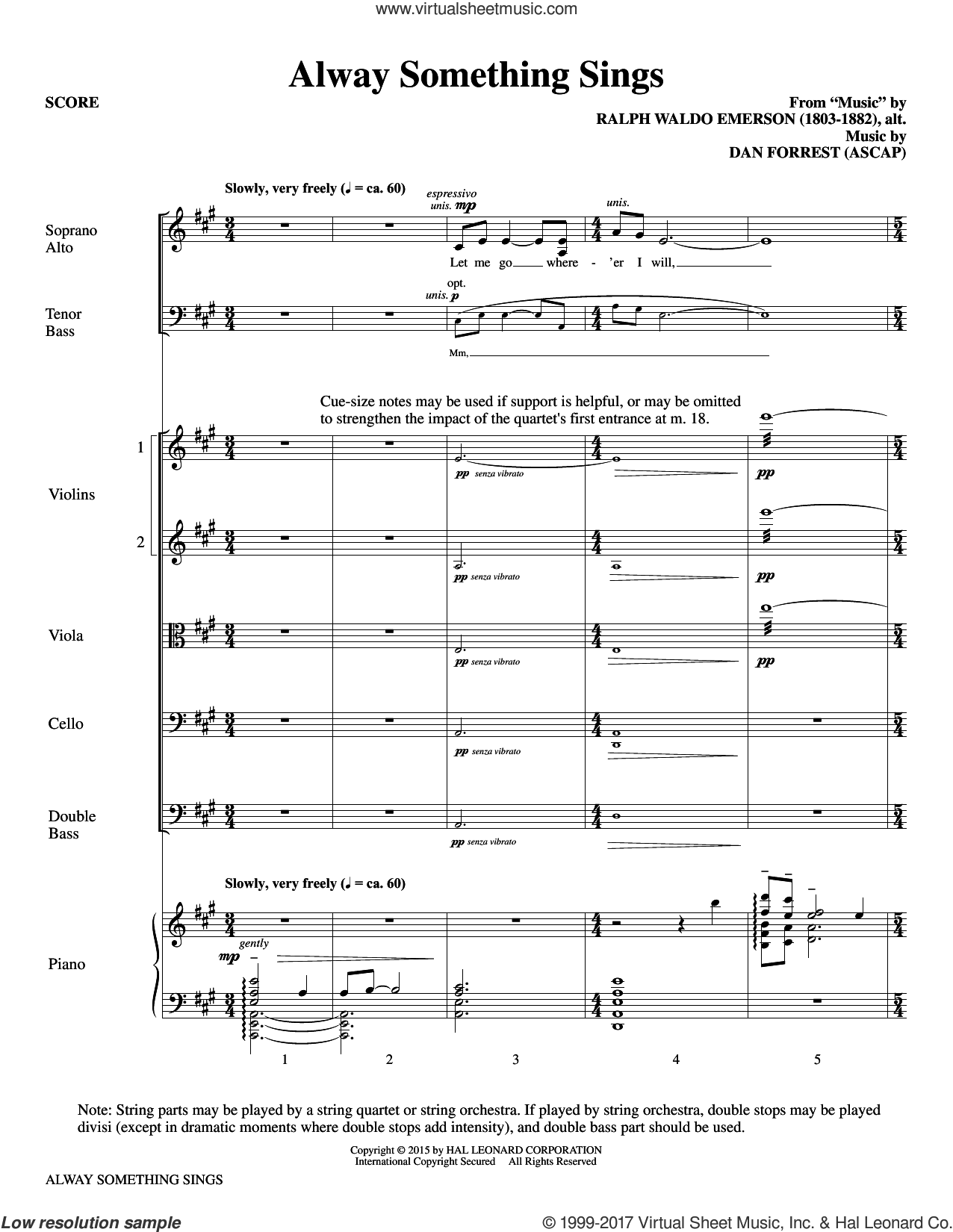 Alway Something Sings (COMPLETE) sheet music for orchestra/band by Dan Forrest and Ralph Waldo Emerson, intermediate