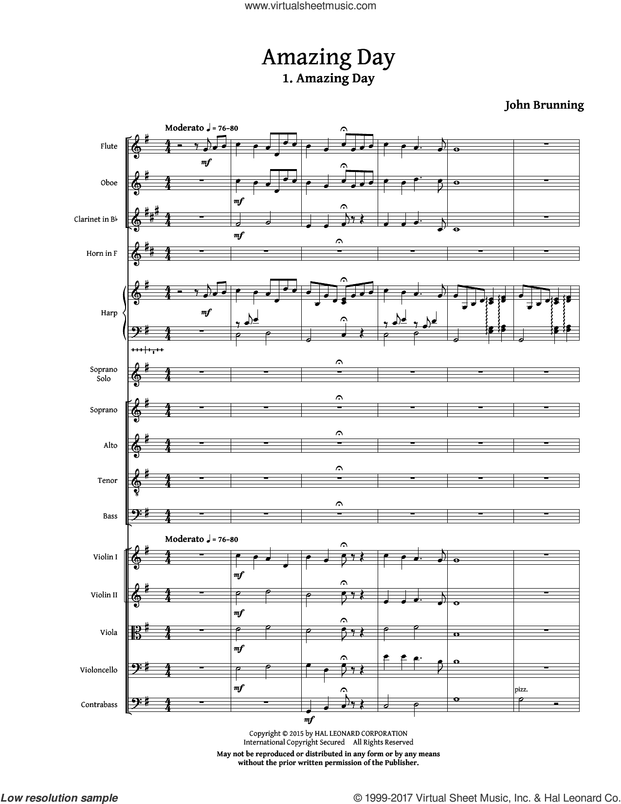 Amazing Day (COMPLETE) sheet music for orchestra/band (chamber ensemble) by John Brunning, intermediate. Score Image Preview.