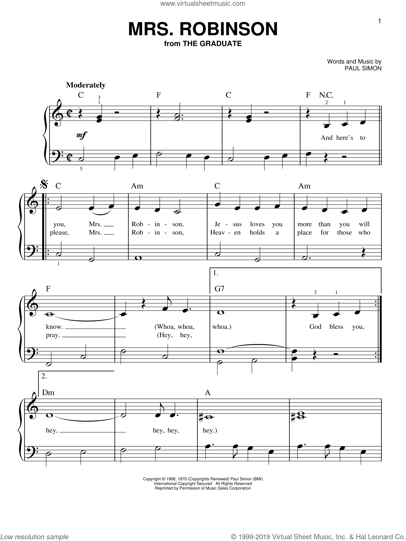 Mrs. Robinson sheet music for piano solo by Paul Simon and Simon & Garfunkel. Score Image Preview.