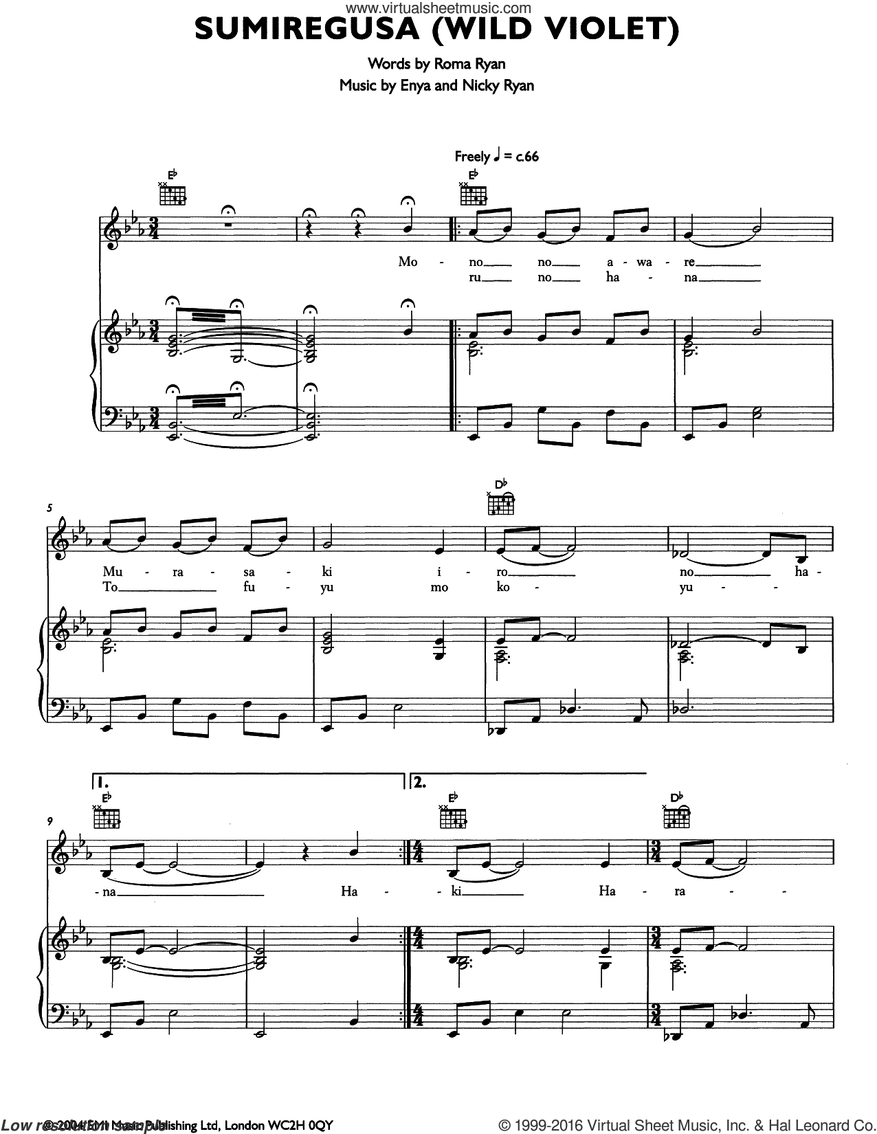 Semiregusa (Wild Violet) sheet music for voice, piano or guitar by Enya. Score Image Preview.
