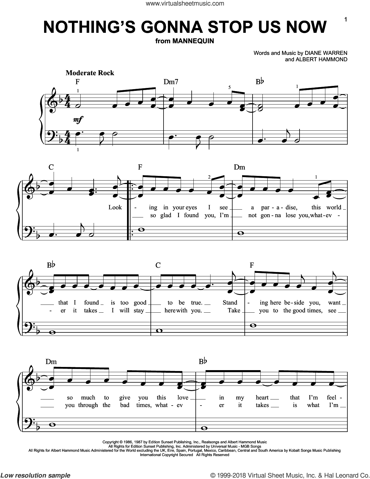 Nothing's Gonna Stop Us Now sheet music for piano solo by Starship, Albert Hammond and Diane Warren, beginner skill level