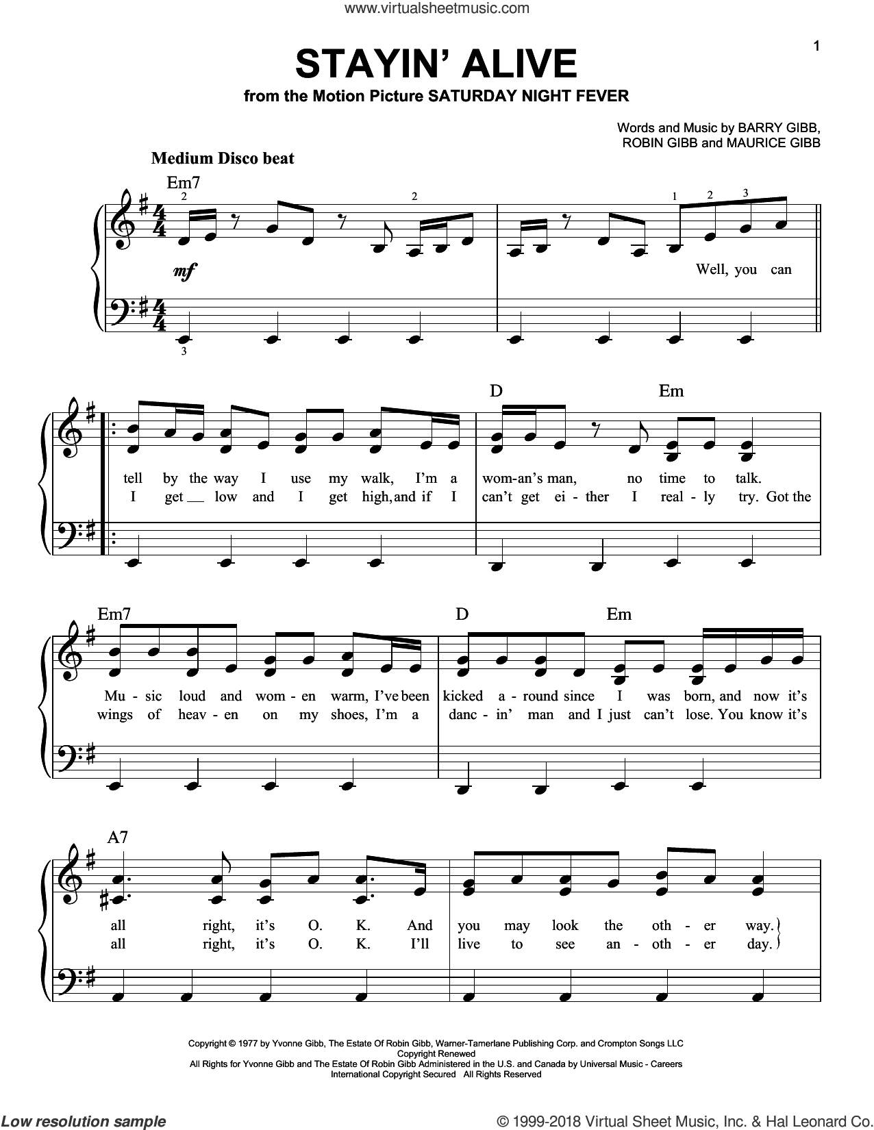 Stayin' Alive sheet music for piano solo by Bee Gees, N-Trance, Barry Gibb, Maurice Gibb and Robin Gibb, beginner skill level