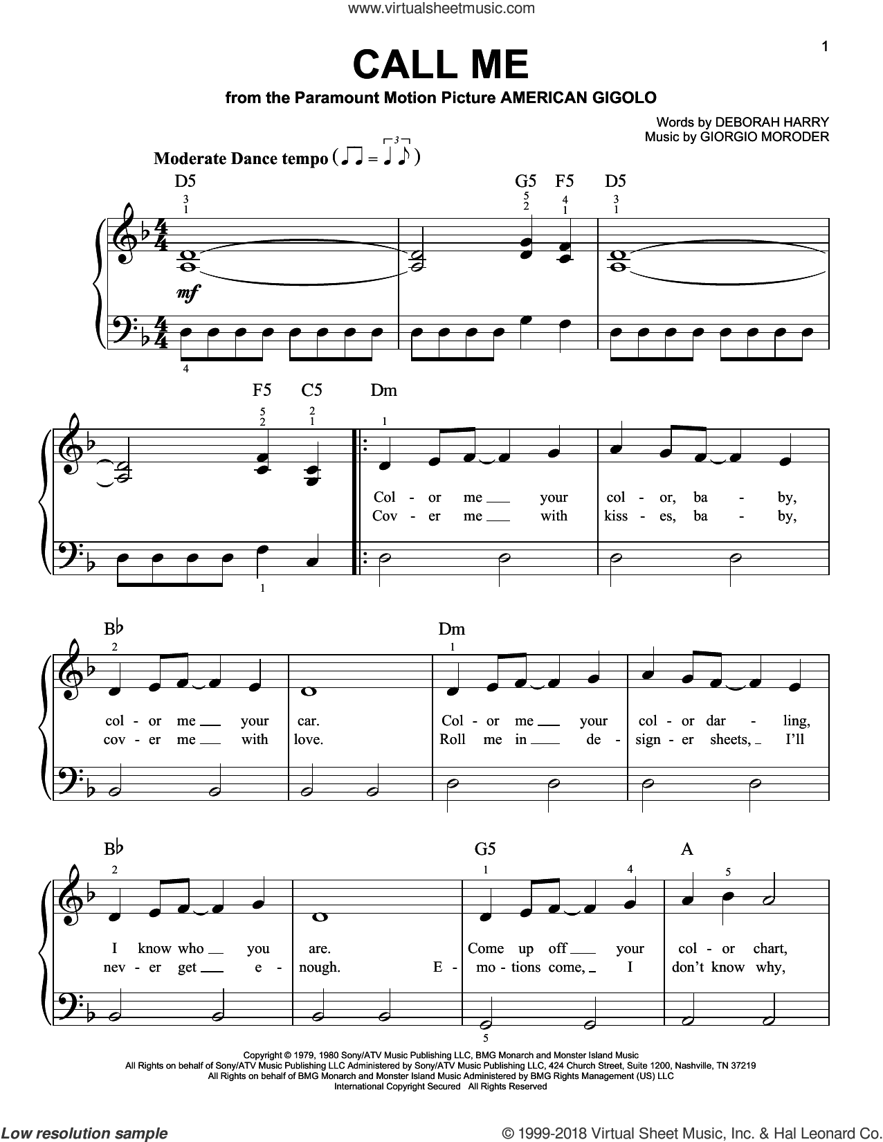 Call Me sheet music for piano solo by Blondie, Deborah Harry and Giorgio Moroder, beginner skill level