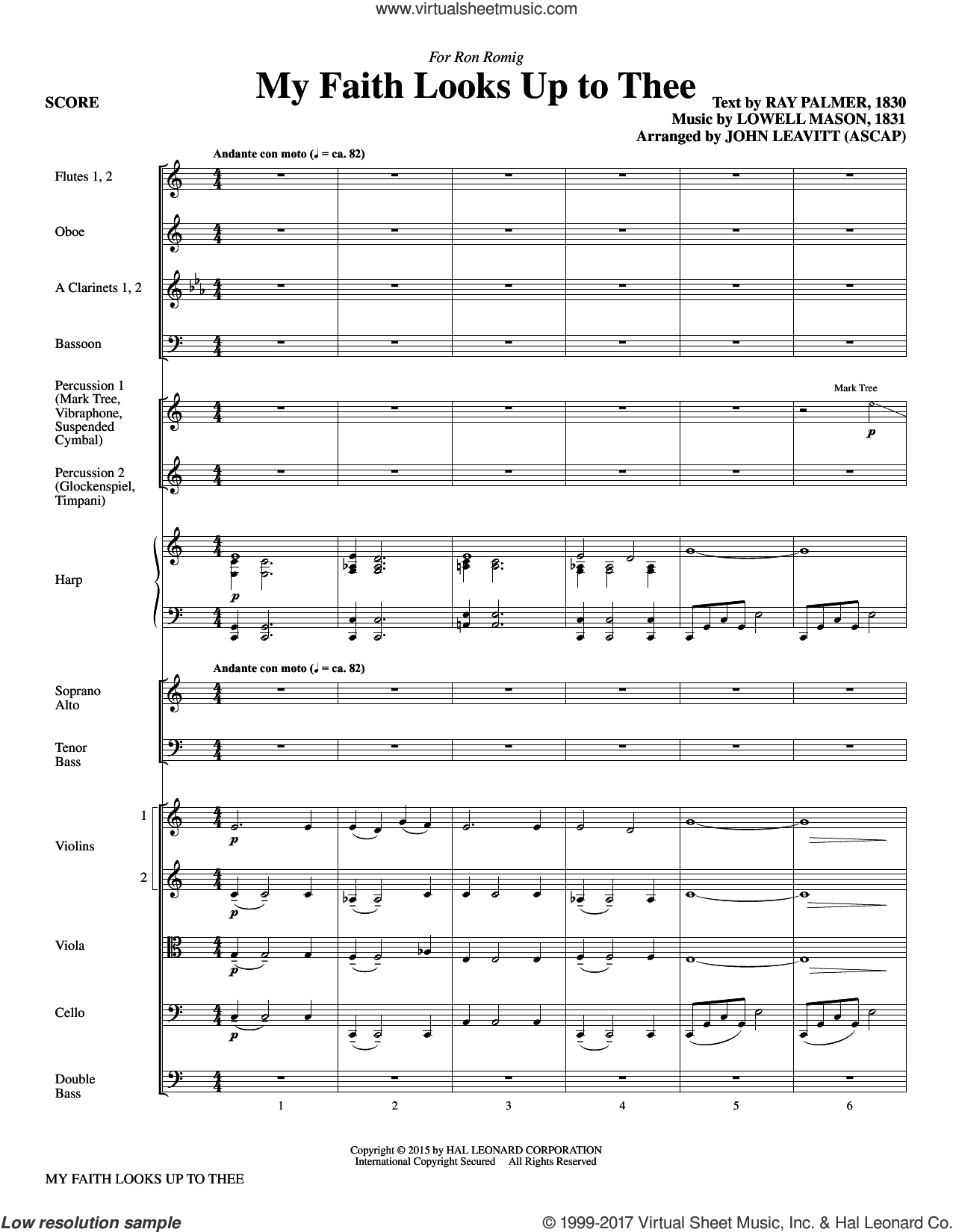My Faith Looks Up To Thee (COMPLETE) sheet music for orchestra/band by John Leavitt, Lowell Mason and Ray Palmer, intermediate. Score Image Preview.