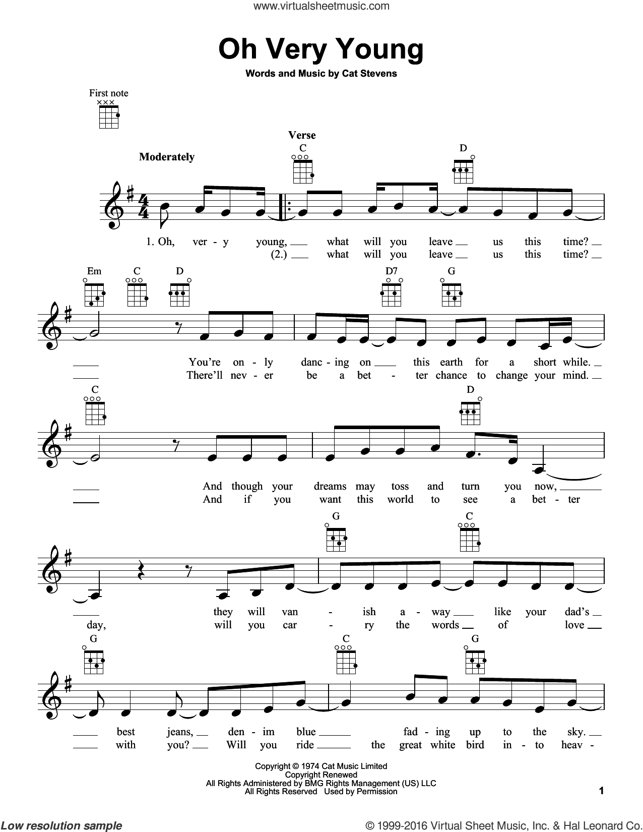 Oh Very Young sheet music for ukulele by Yusuf/Cat Stevens, Yusuf Islam and Cat Stevens. Score Image Preview.
