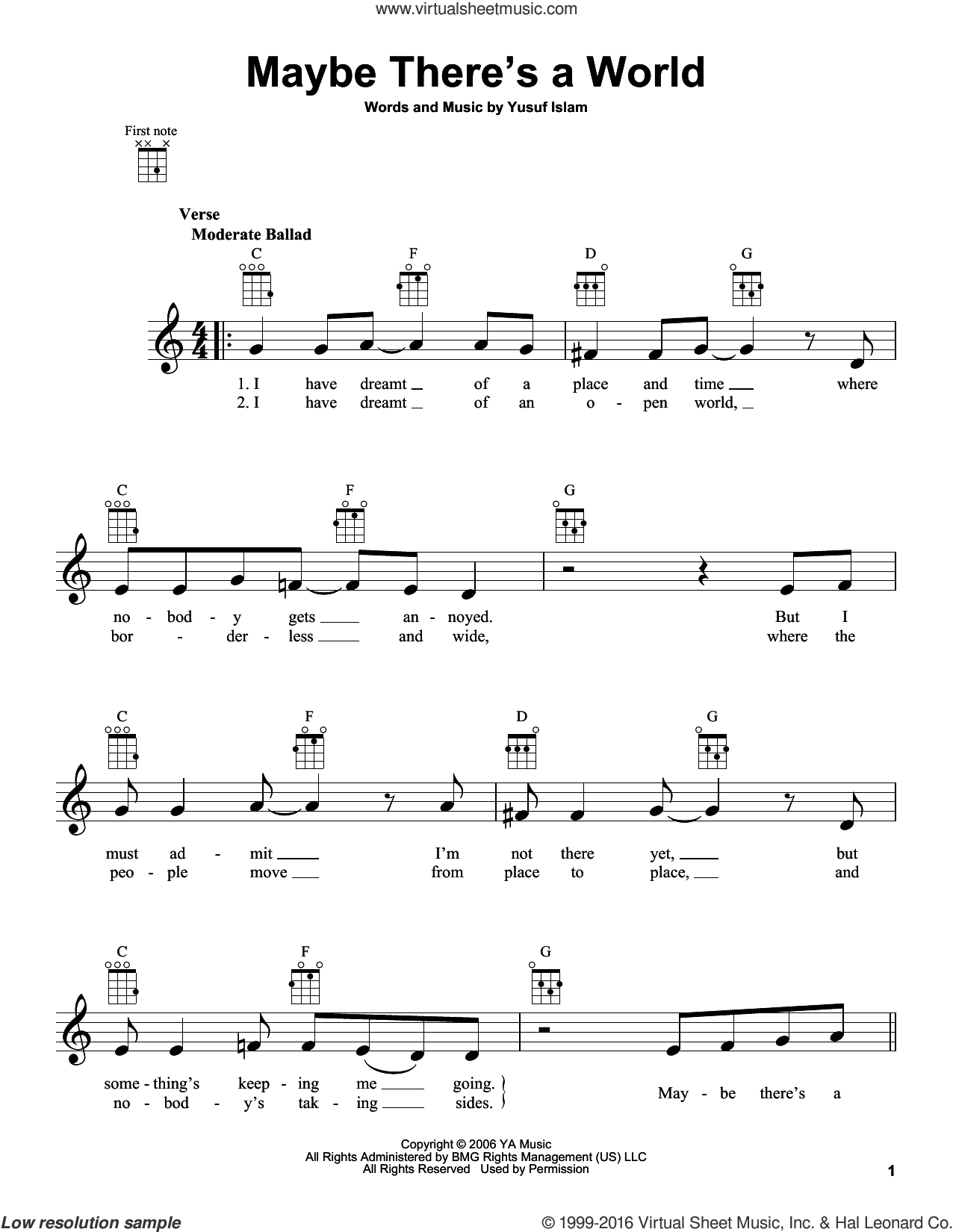 Maybe There's A World sheet music for ukulele by Yusuf/Cat Stevens, Cat Stevens and Yusuf Islam. Score Image Preview.